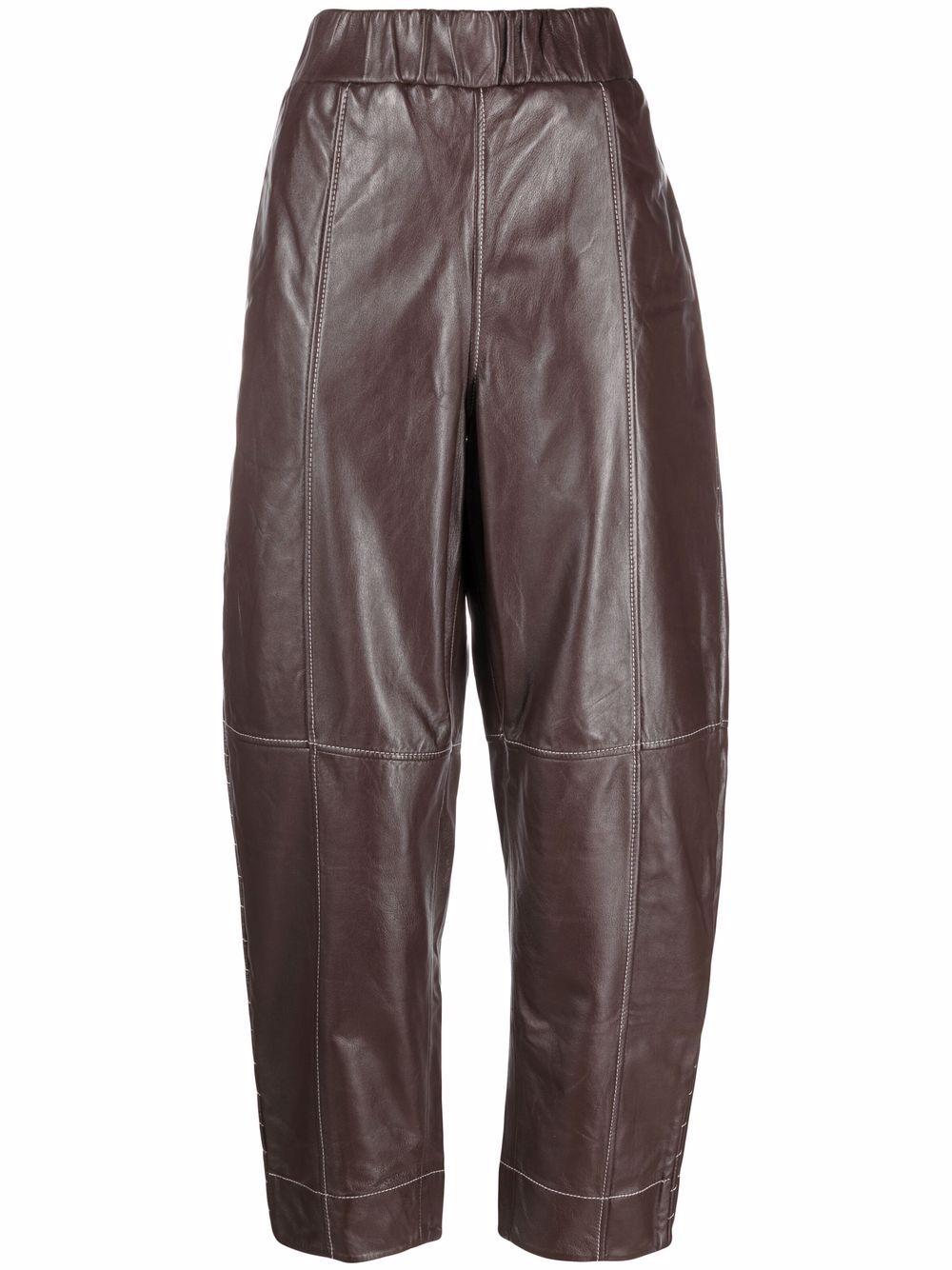 brown organic leather balloon-leg trousers  GANNI      F6293897