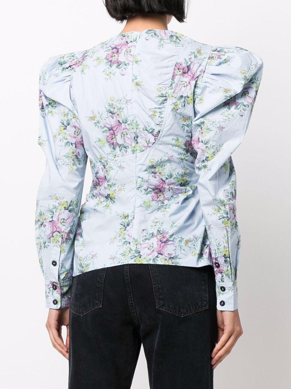 Powder-blue organic cotton puff-sleeved blouse  GANNI |  | F6373694