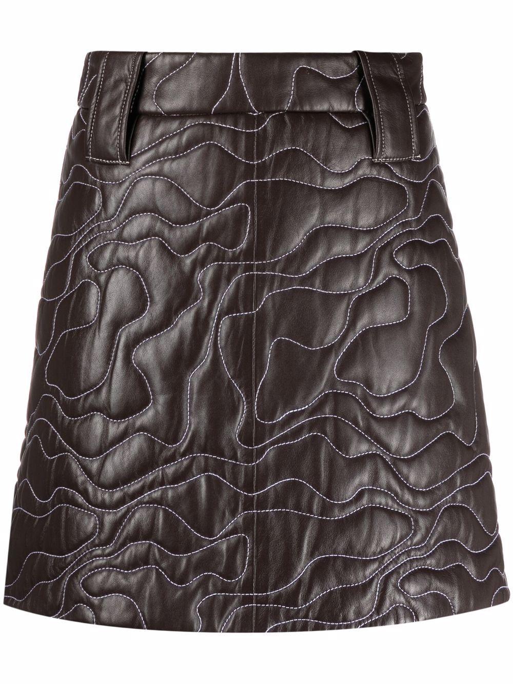 brown embroidered lambskin mini skirt  GANNI      F6389897
