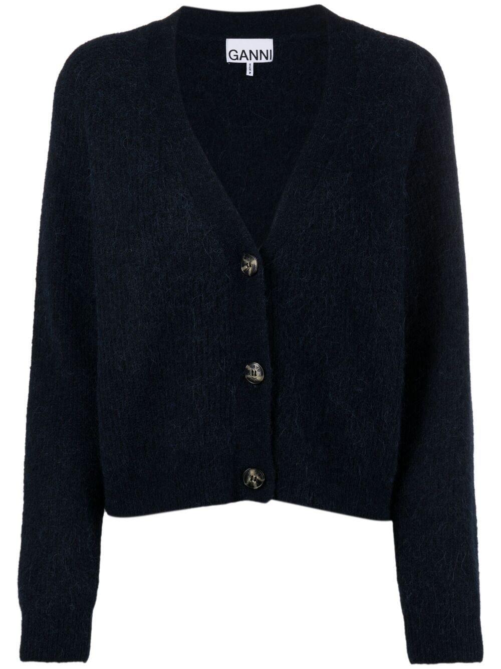 cardigan blu con bottoni in maglia di lana merino e alpaca GANNI | Cardigan | K1498683
