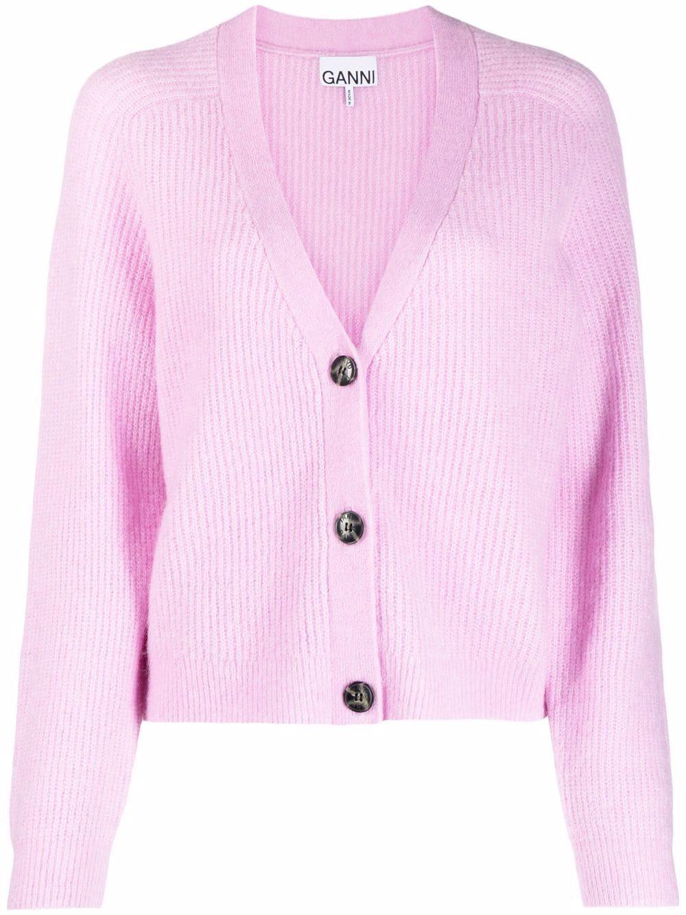 light purple wool ribbed V-neck cardigan GANNI |  | K1549500