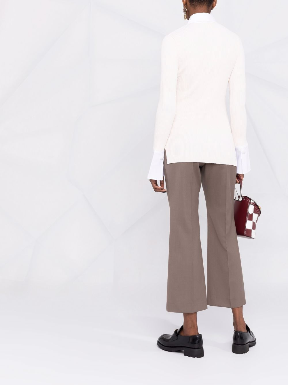 white knitted shirt-style top featuring crystal-embellished buttons GANNI |  | K1562115