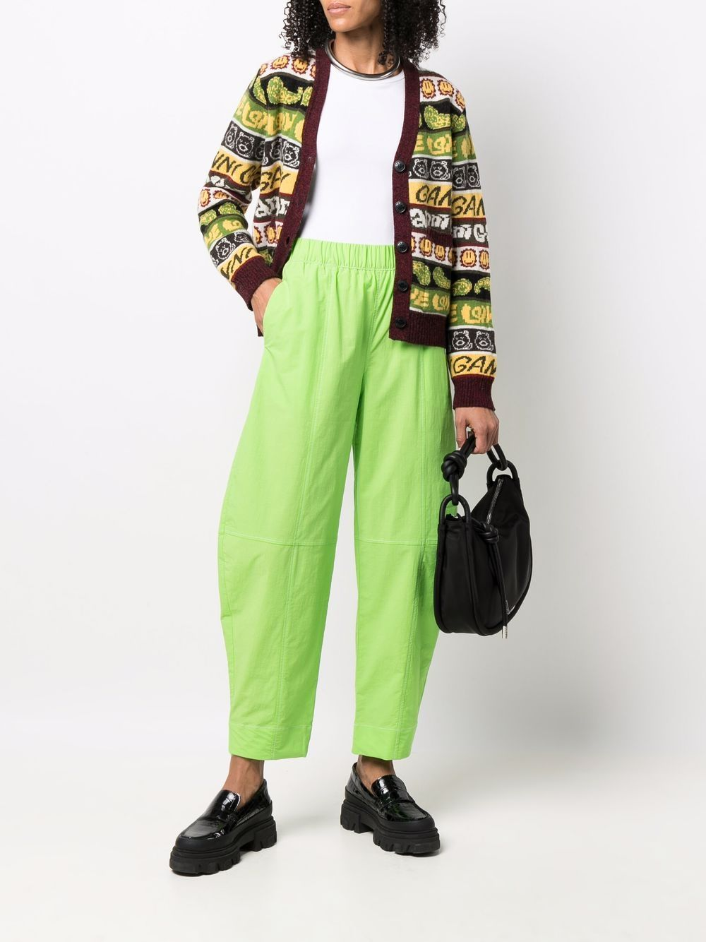 Multicolour recycled wool blend smiley knitted cardigan  GANNI |  | K1600999