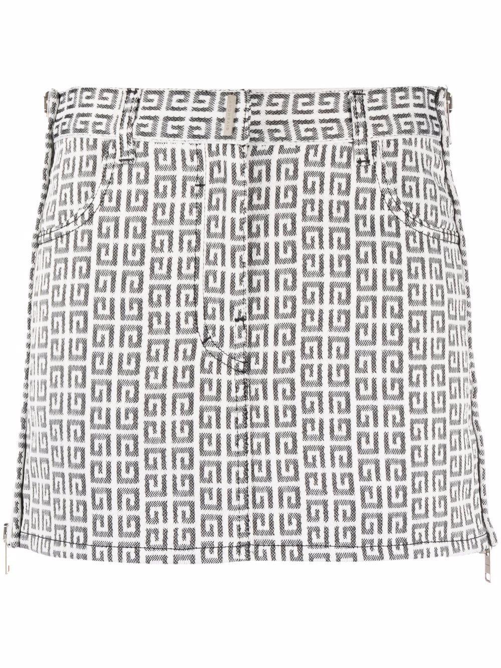 Minigonna bianca e nera in cotone in stampa monogramma 4G GIVENCHY   Gonne   BW40GW13N0004