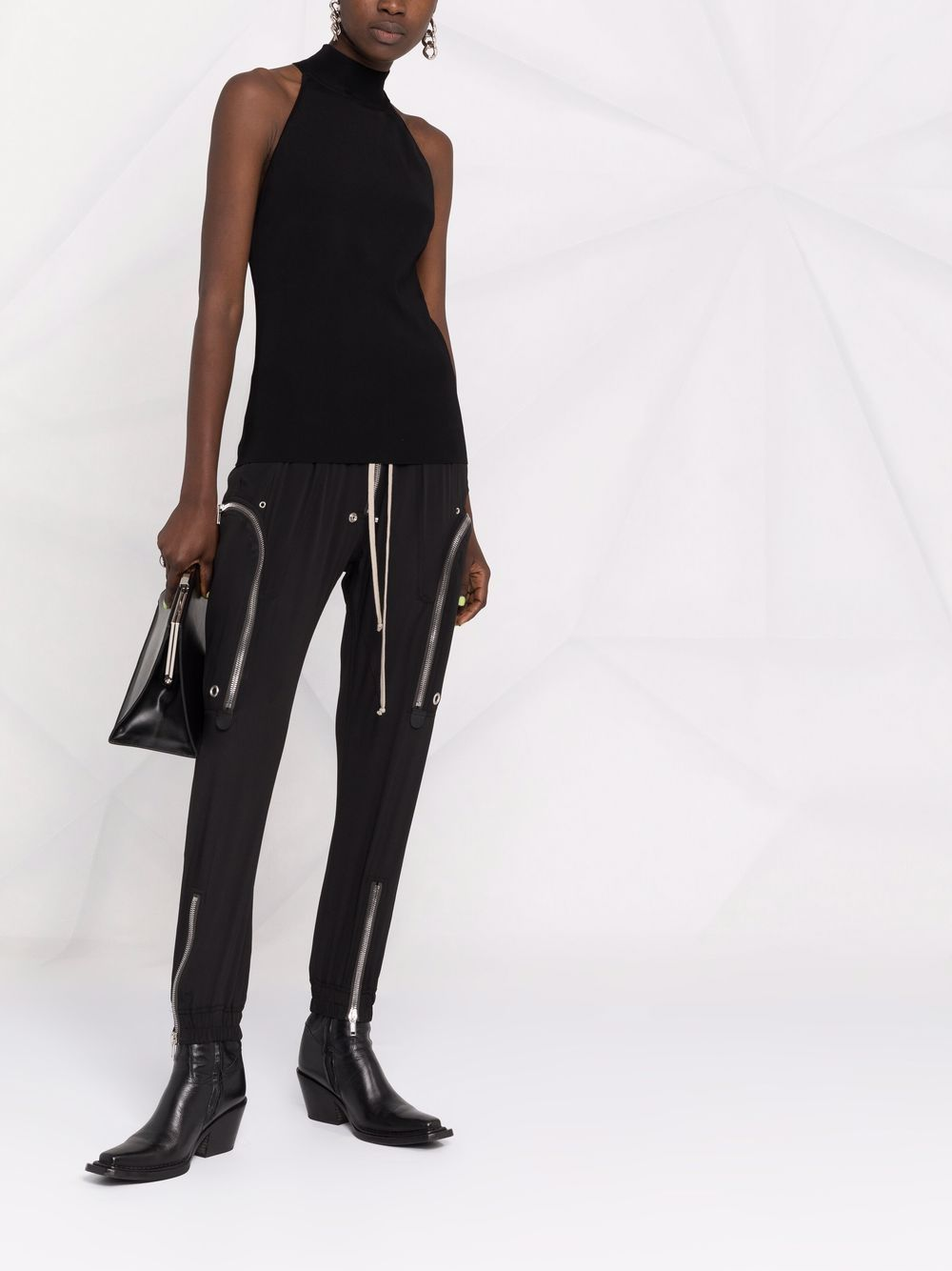 Black zip-detail sleeveless top featuring high neck GIVENCHY |  | BW60UW4ZA5001