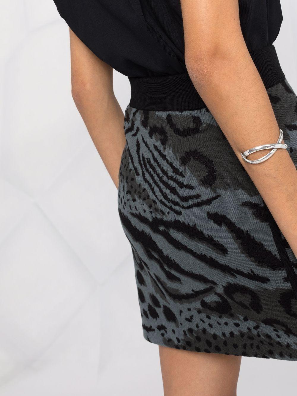 Black and charcoal-grey wool animal print knitted skirt  KENZO      FB6-2JU627-3CF96