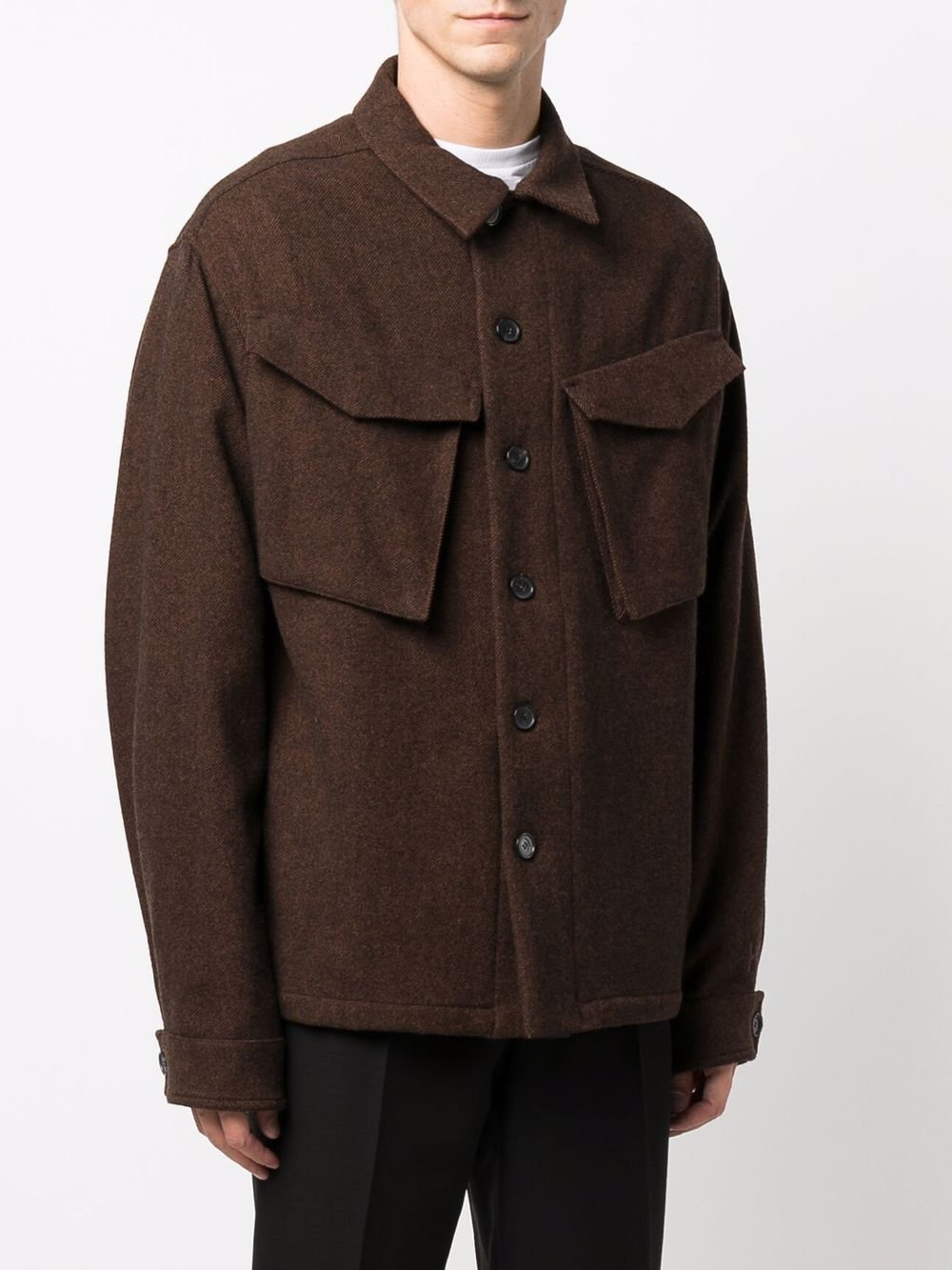 Brown wool and flannel shirt jacket featuring embroidered Kenzo logo  KENZO |  | FB6-5VE213-1RB90