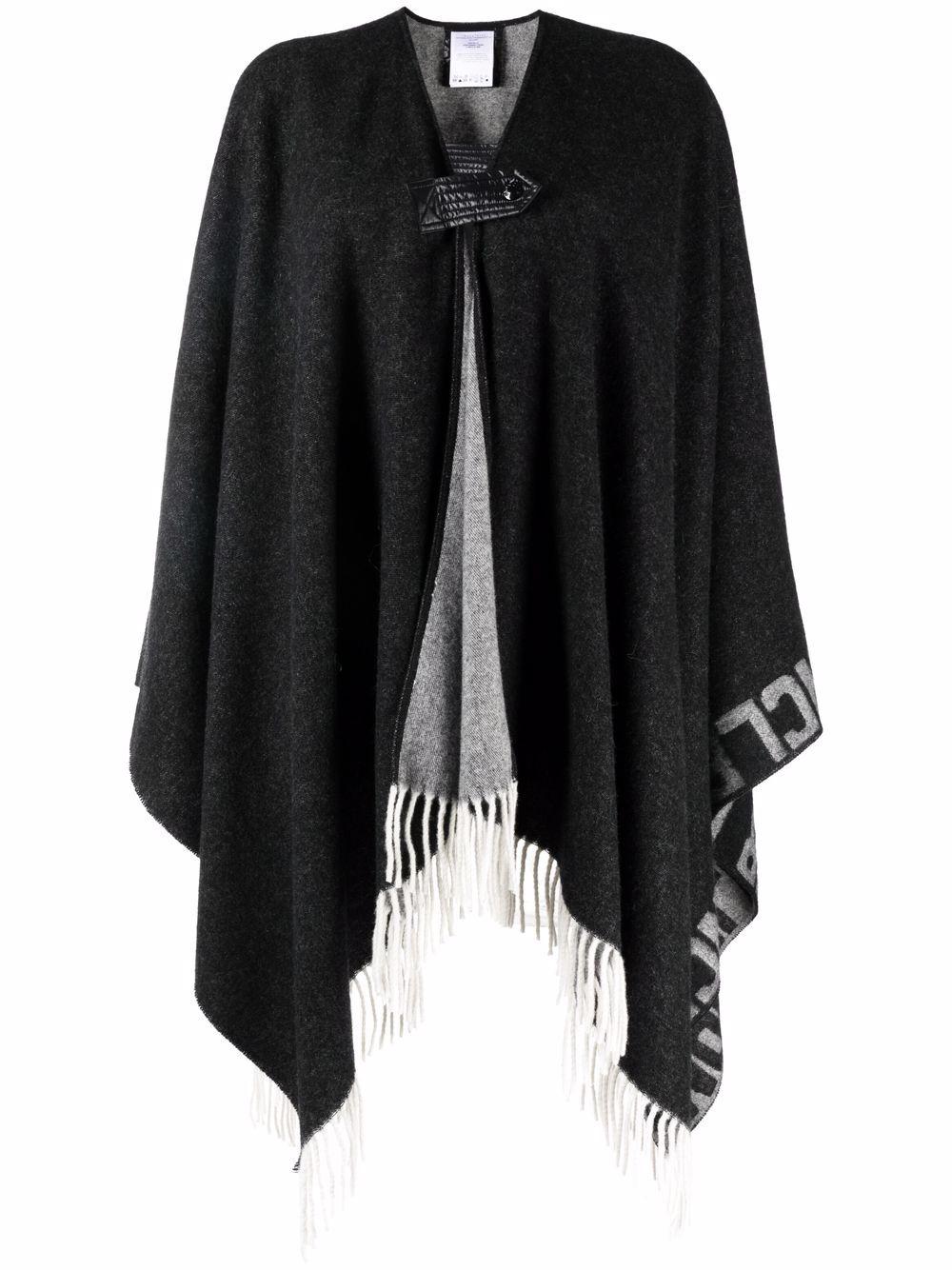 Poncho in lana bianco e nero con frange MONCLER   Mantella   3G000-12-0P58Z999