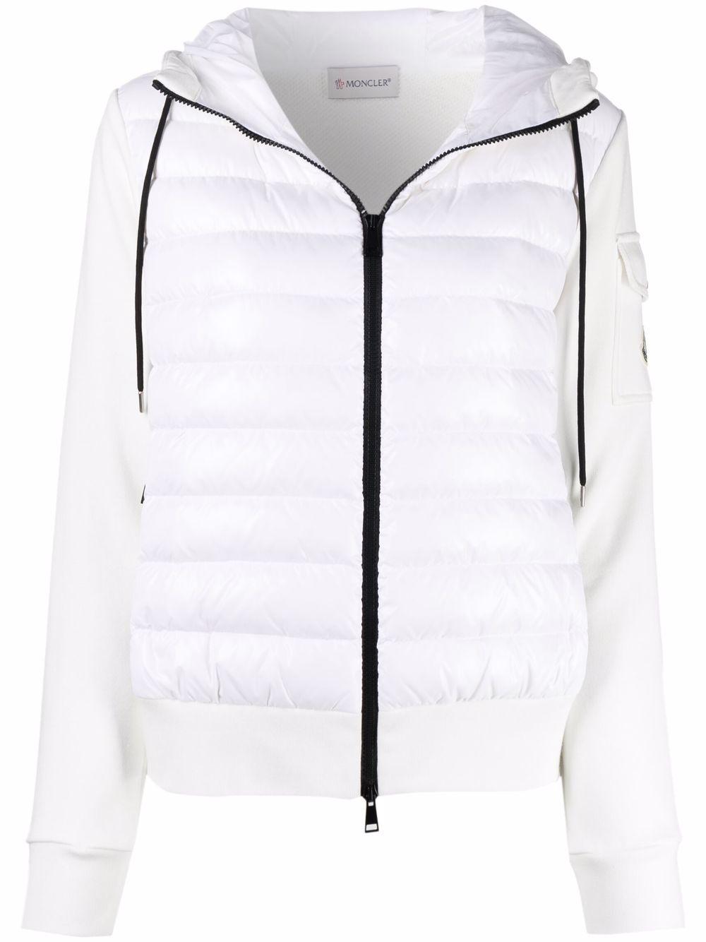 Felpa trapuntata in piuma bianca con cappuccio e zip con logo Moncler MONCLER | Cardigan | 8G000-28-809DH032