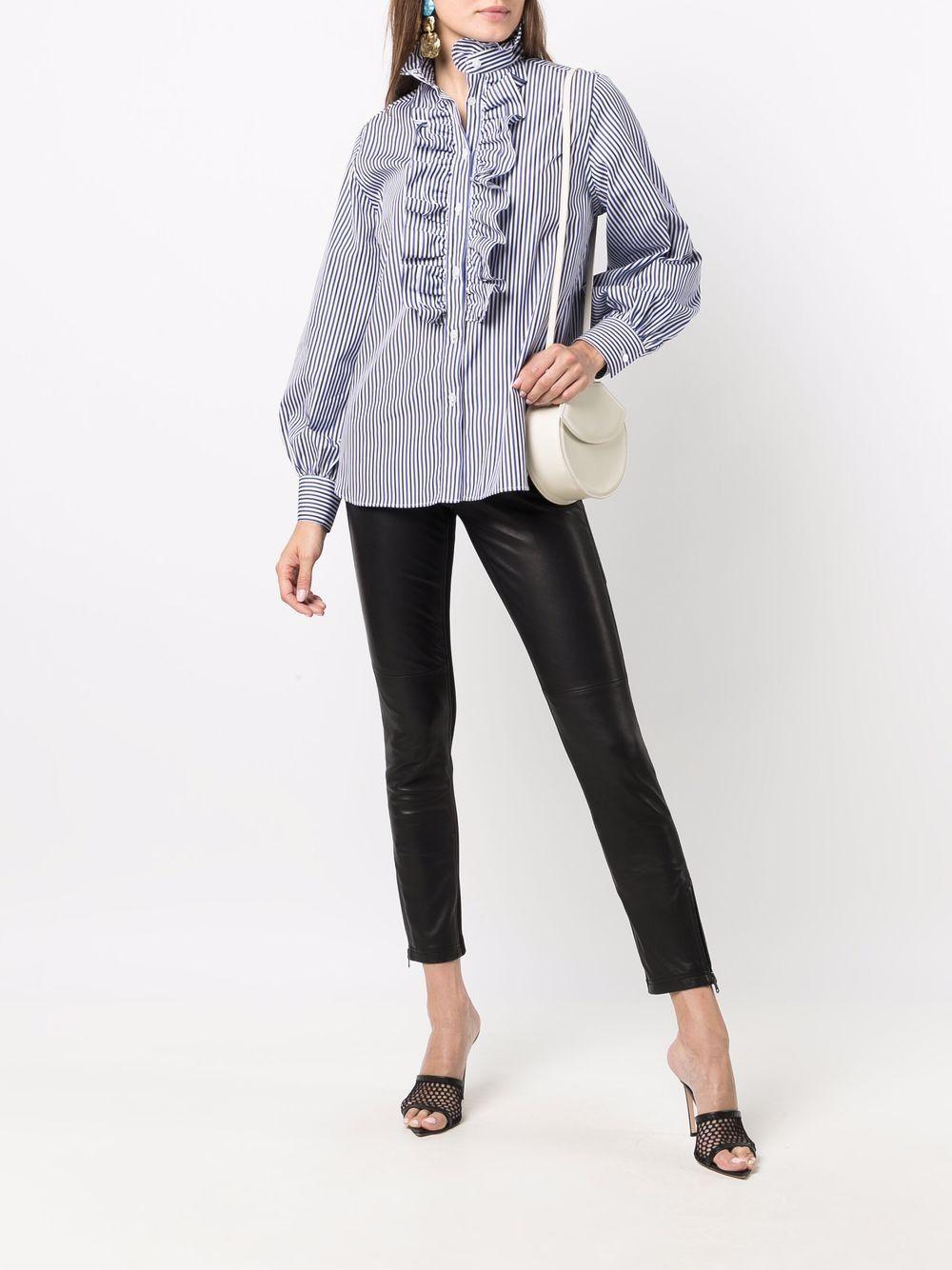 Camicia a righe in cotone blu e bianco con volant P.A.R.O.S.H.   Camicie   D381049-CRIGA883