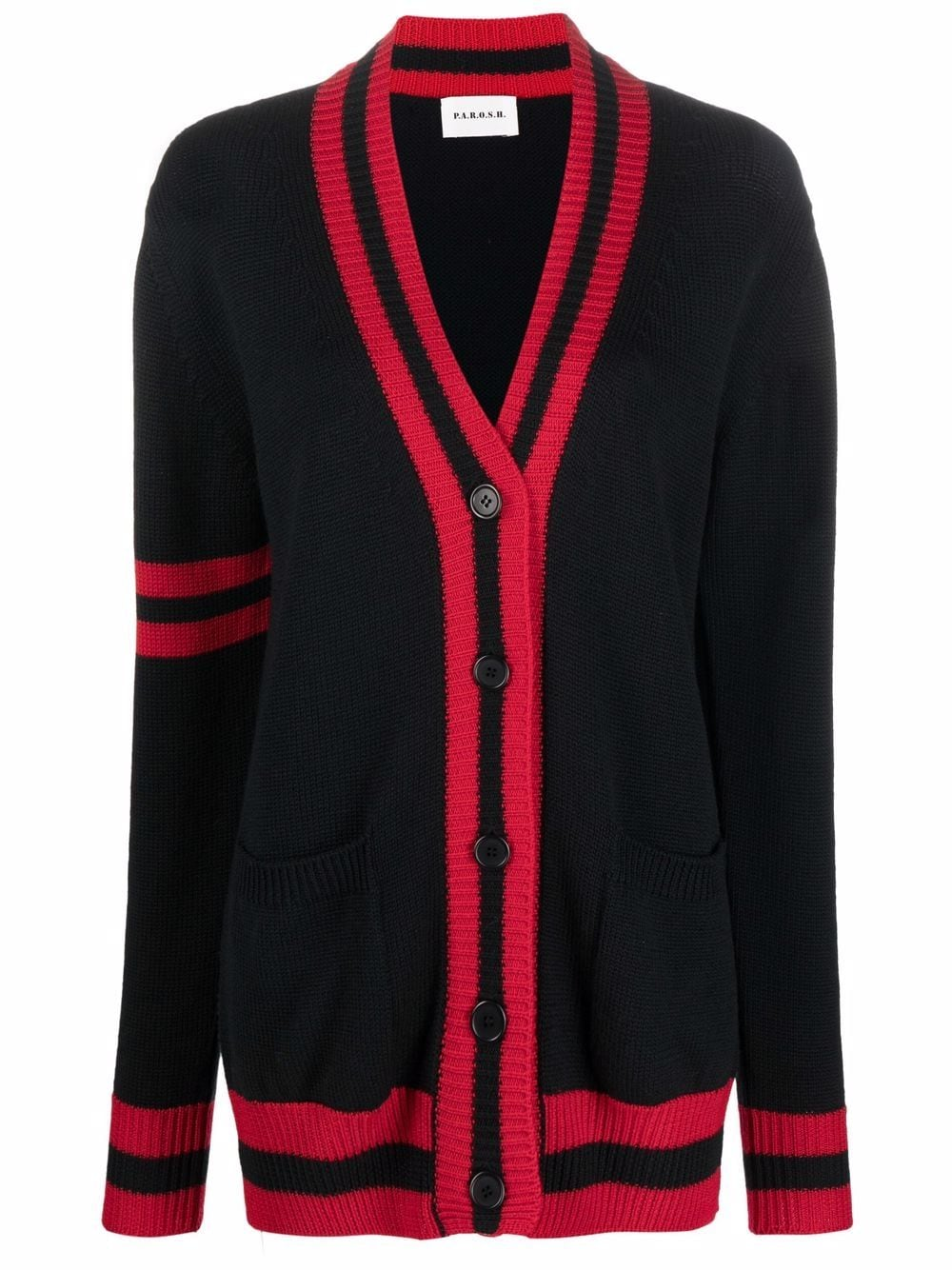 Cardigan in lana rossa e nera con finiture a contrasto P.A.R.O.S.H. | Cardigan | D520082-LAMAR809