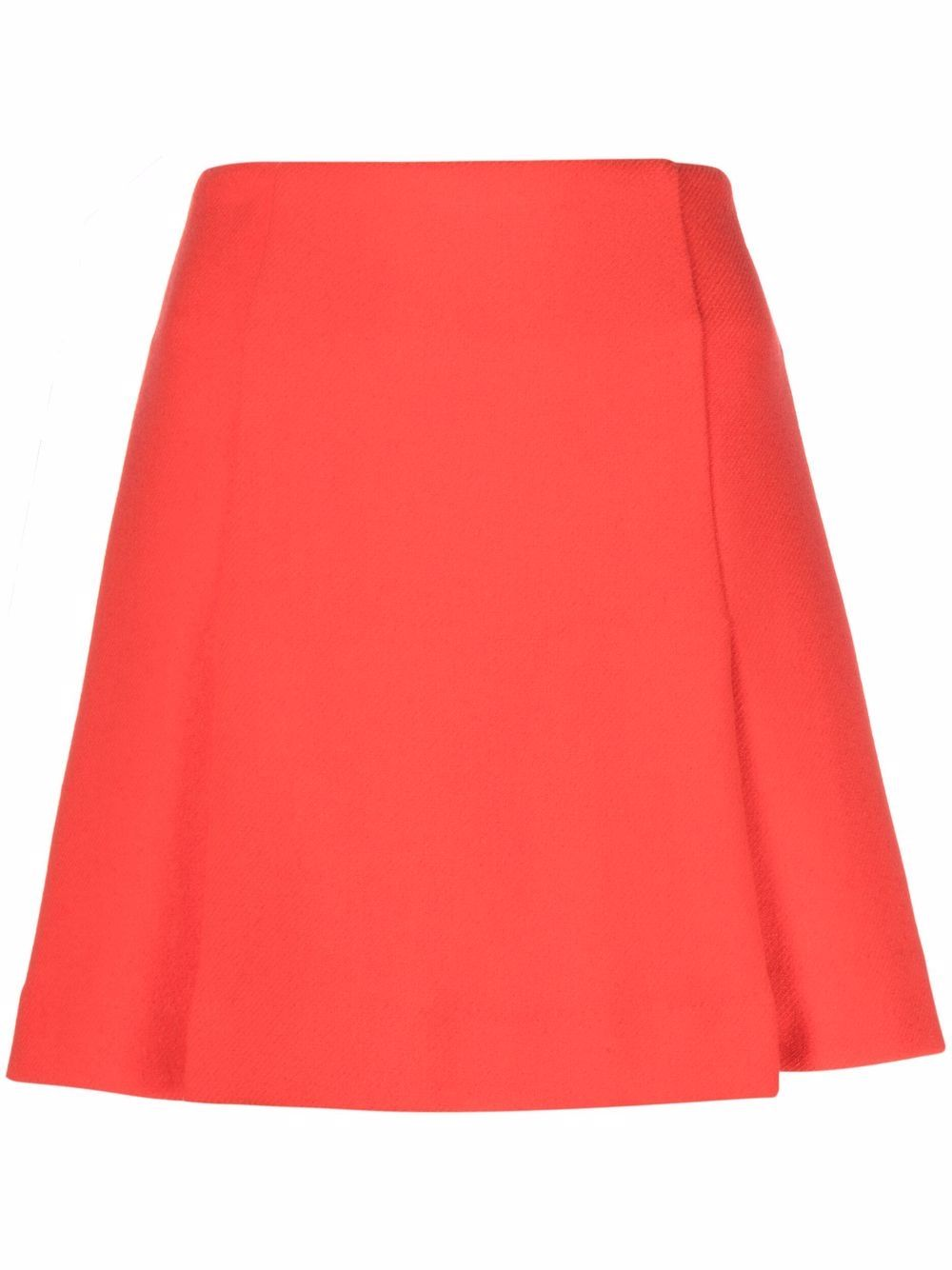 Red virgin wool skirt featuring inverted pleat P.A.R.O.S.H.      D630380-LAYE048