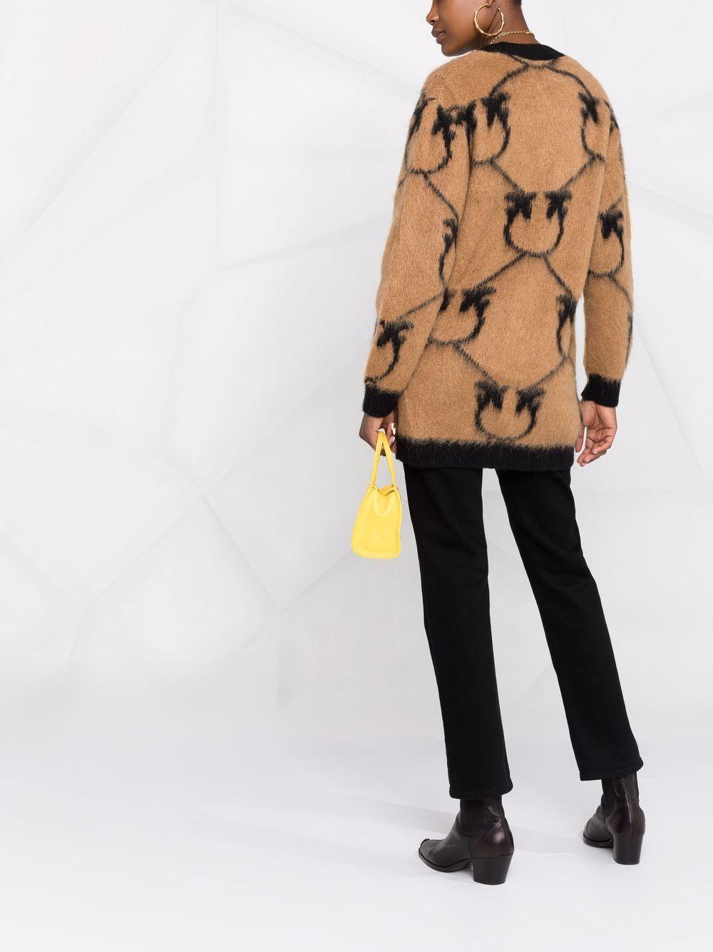Camel brown mohair wool cardigan with Pink black monogram print PINKO |  | 1G16BY-Y761CZ3