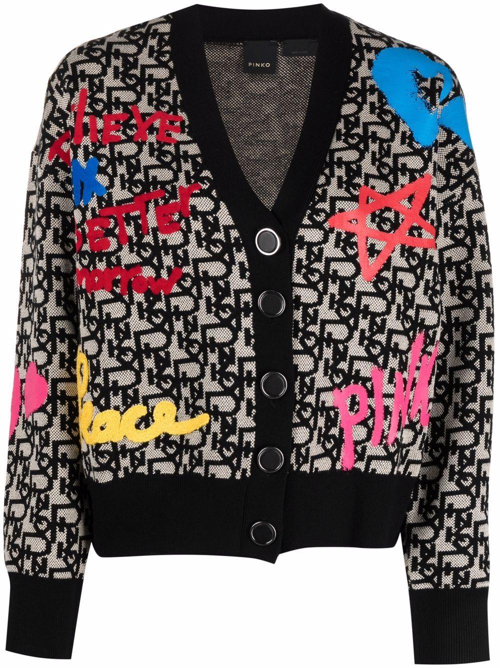 cardigan multicolore con scollo a V e monogram Pinko PINKO   Cardigan   1G16NY-Y7H3ZZ4