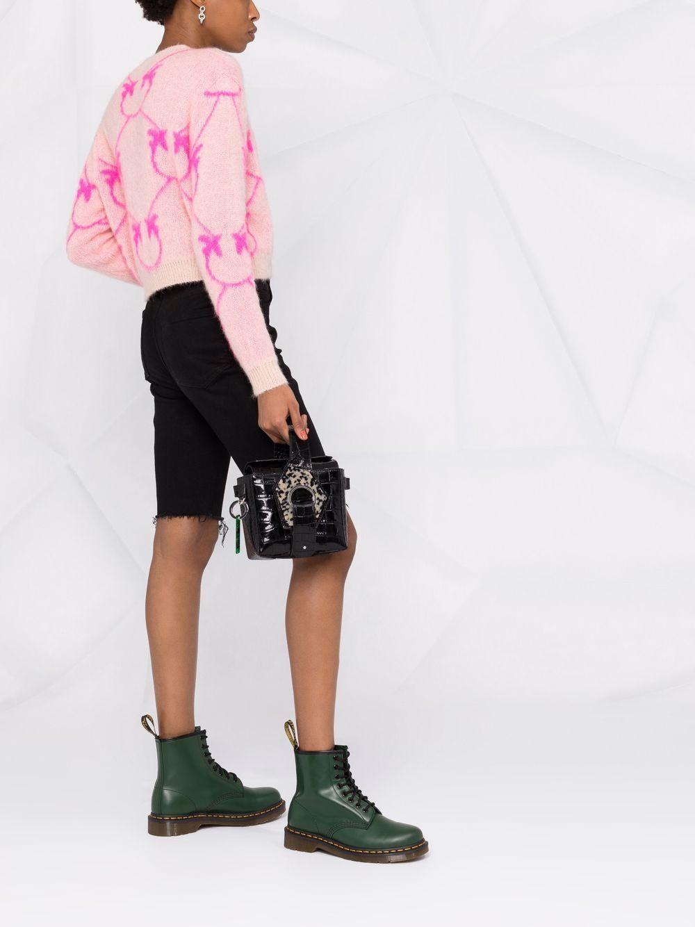 Cardigan in lana mohair rosa con monogramma fuxia Pinko PINKO | Cardigan | 1G16WR-Y7G4NN0