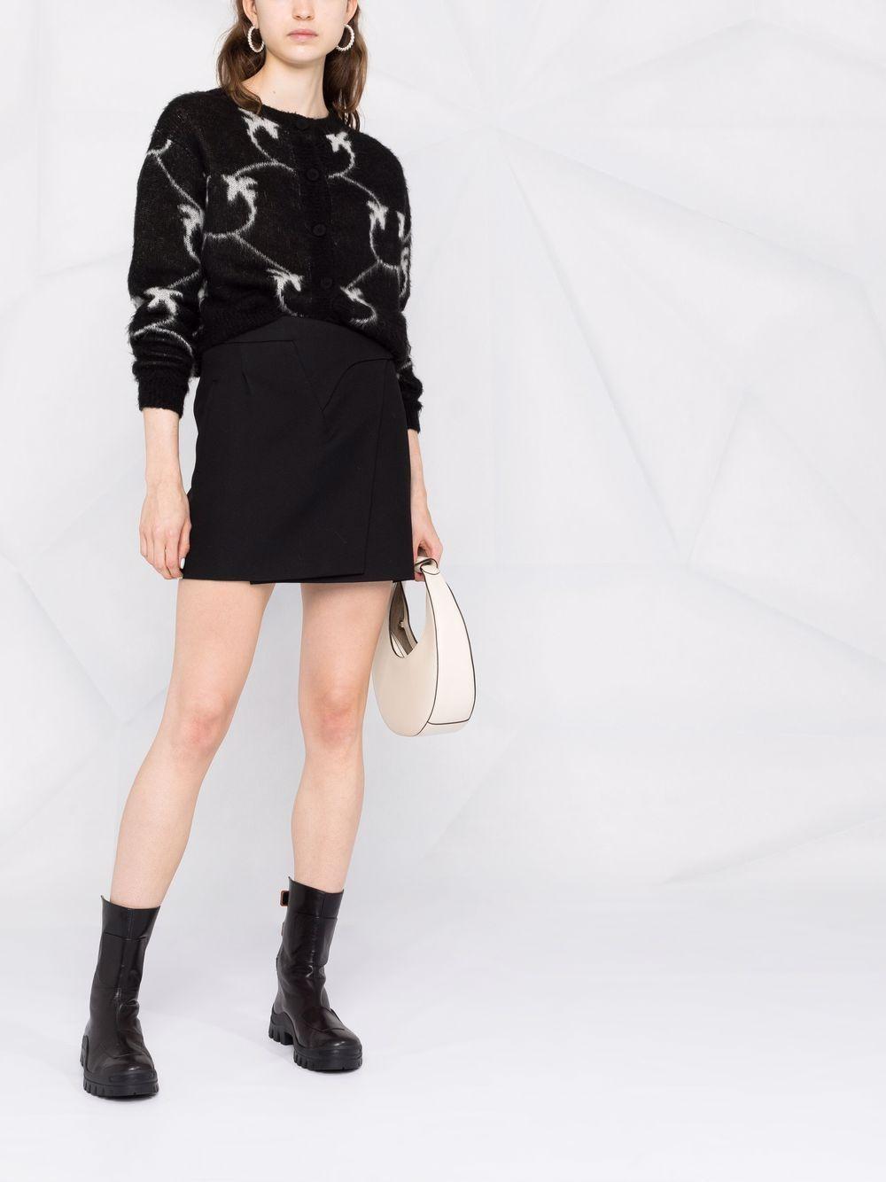 Cardigan nero in lana mohair con logo Pinko in maglia a intarsio bianco PINKO | Cardigan | 1G16WR-Y7G4ZCB