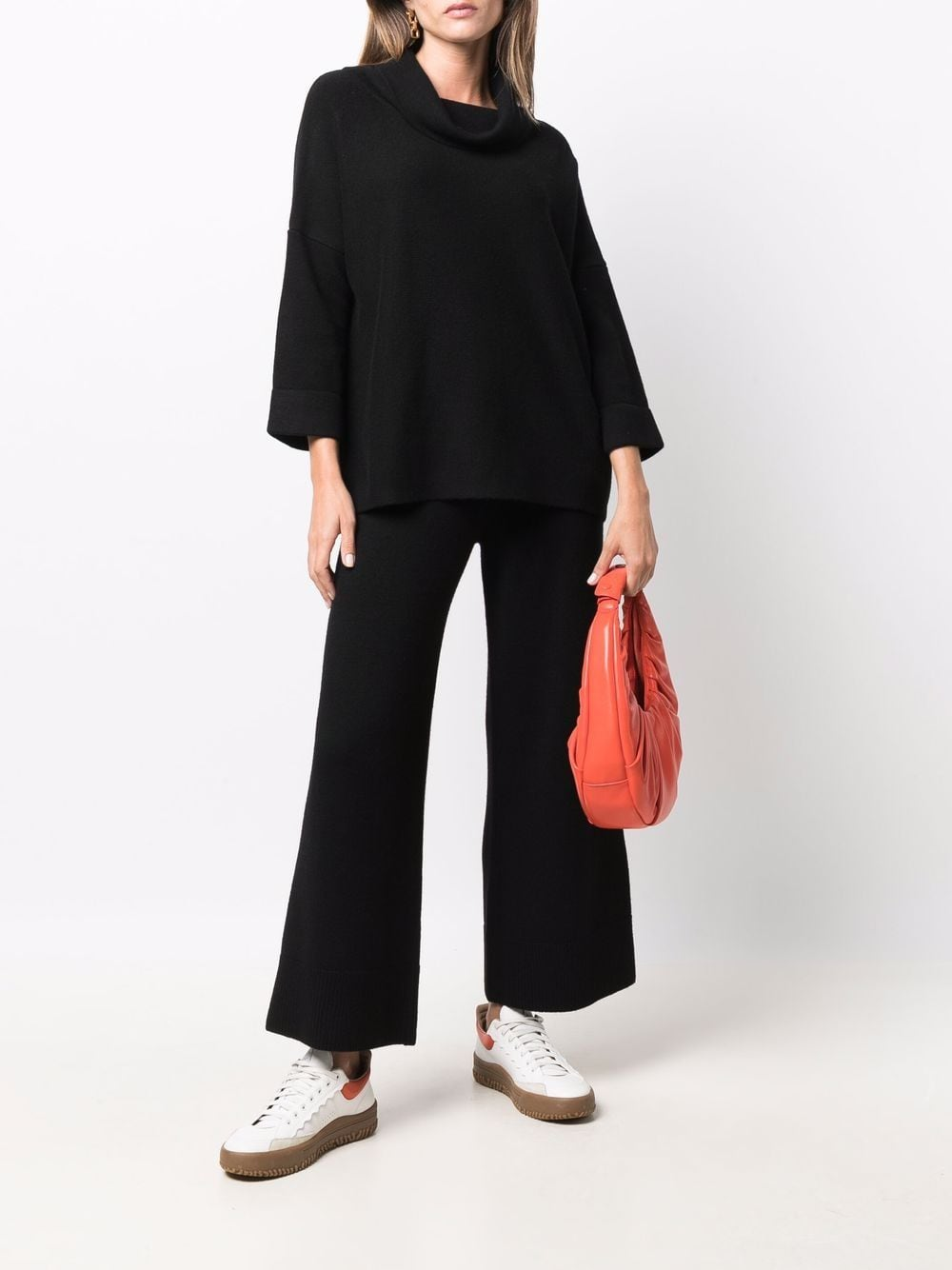 Black wool and cashmere wide-leg knitted trousers  SNOBBY SHEEP      21W.11020999