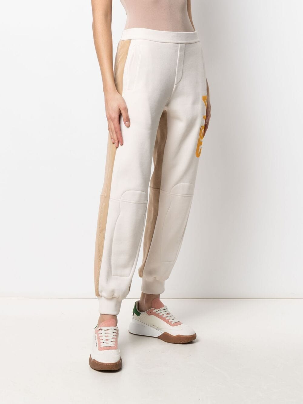 Cream beige and yellow cotton Stella McCartney logo track pants STELLA MC CARTNEY      603658-SOW799201