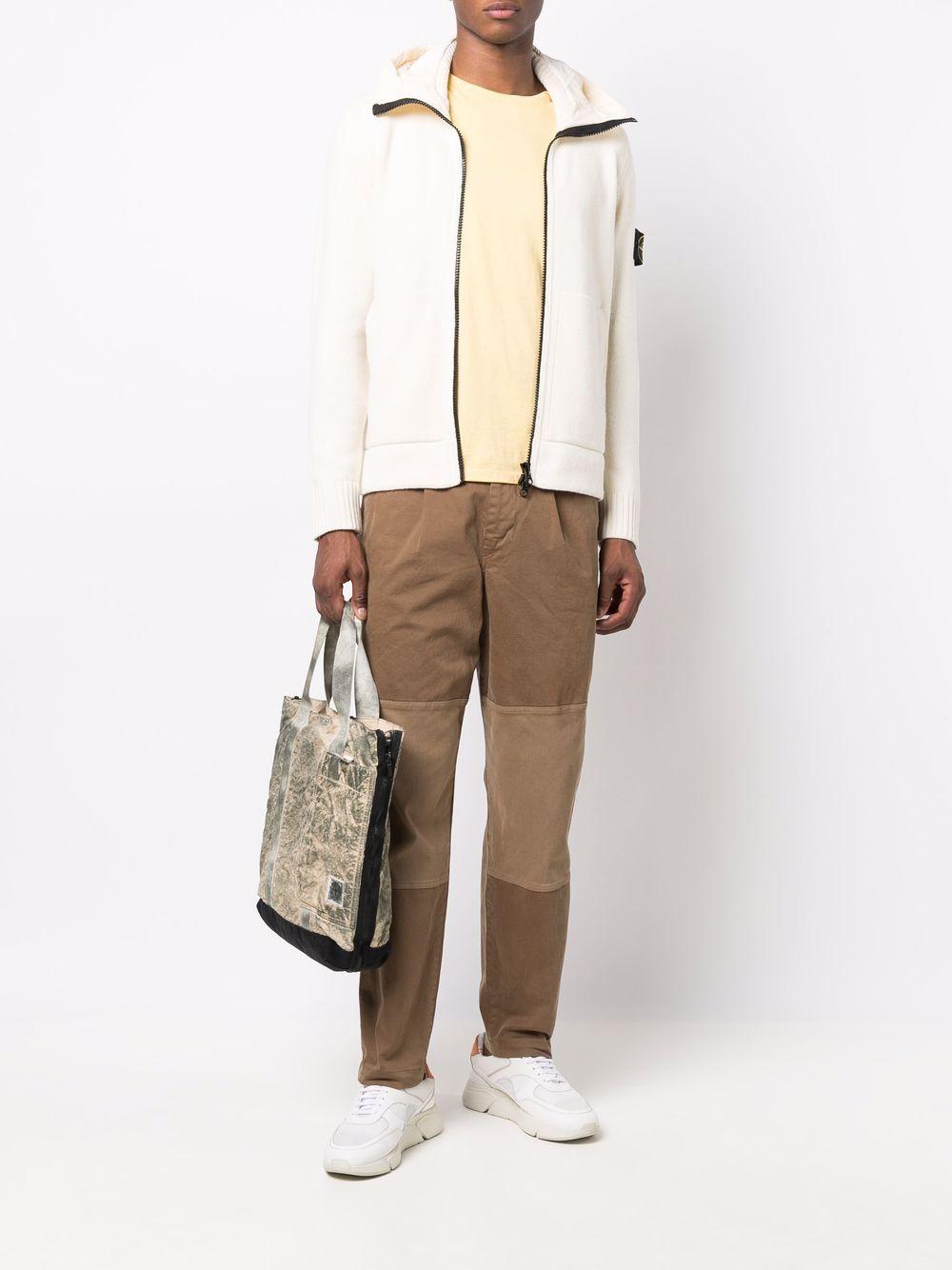 Felpa/cardigan con cappuccio in lana color crema STONE ISLAND | Cardigan | 7515531A3V0099