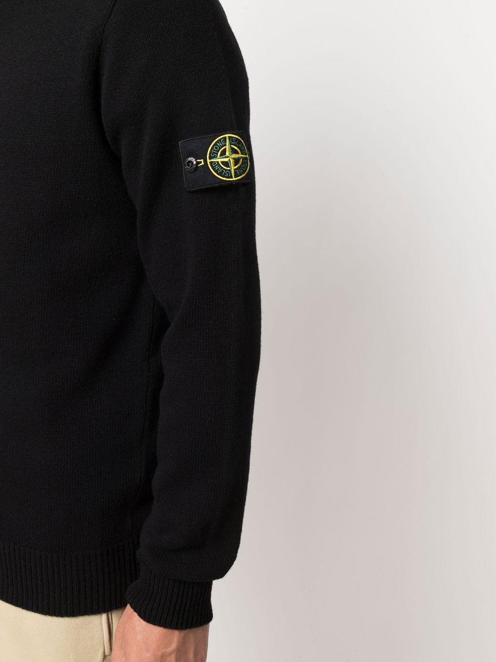 felpa con cappuccio nera con zip a maniche lunghe STONE ISLAND   Cardigan   7515546A3V0029