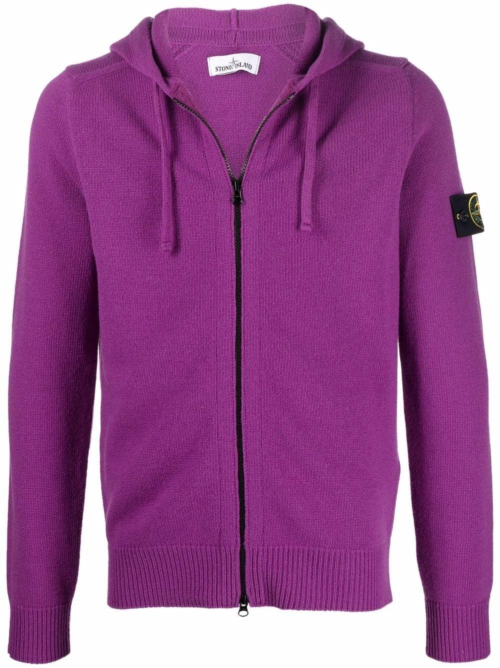 Felpa viola magenta in lana con cappuccio con logo Stone Island STONE ISLAND | Cardigan | 7515546A3V0045