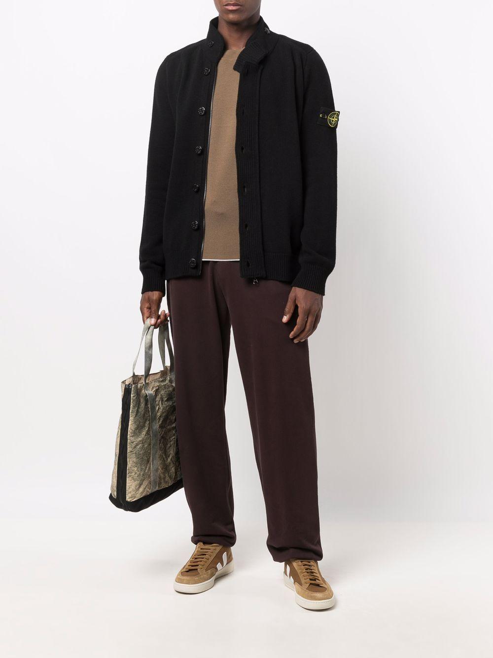 Black wool high-neck cardigan featuring Stone Island logo STONE ISLAND |  | 7515547A3V0029
