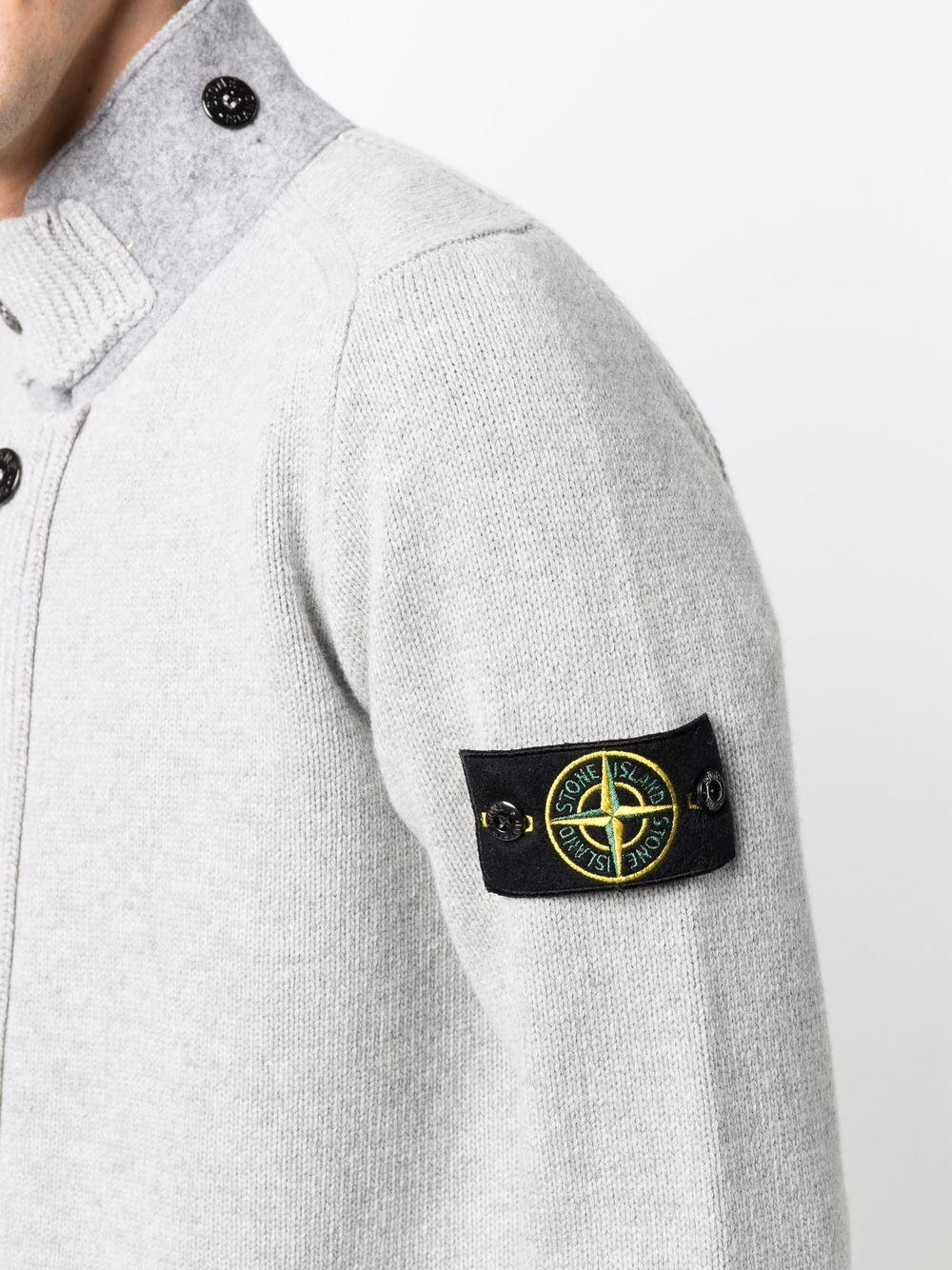 Grey wool funnel-neck cardigan STONE ISLAND |  | 7515547A3V0061
