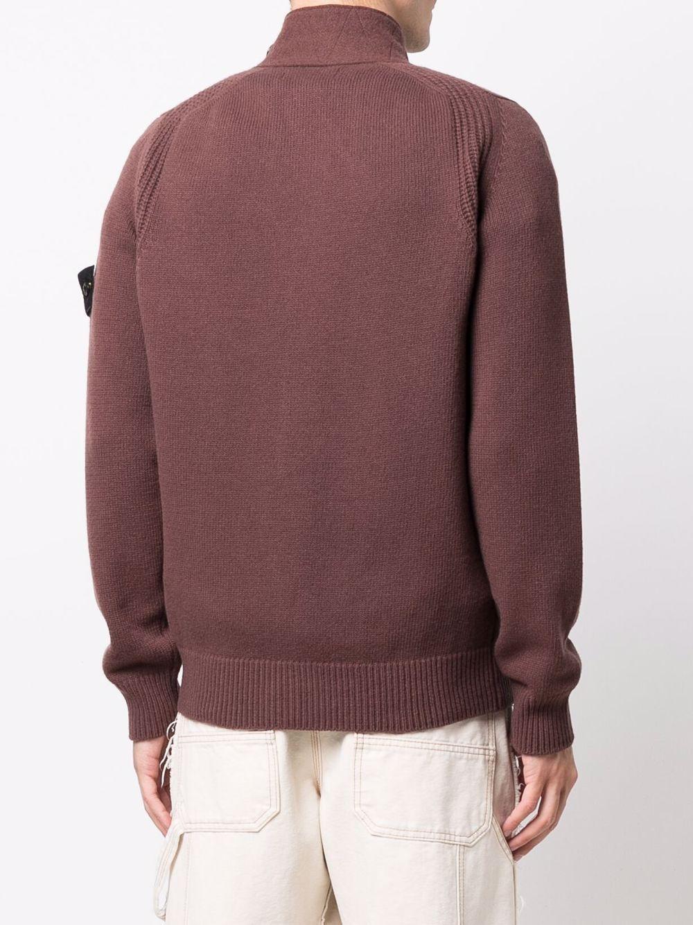 cardigan marrone in lana con bottoni e logo Stone Island sulla manica STONE ISLAND   Cardigan   7515547A3V0076