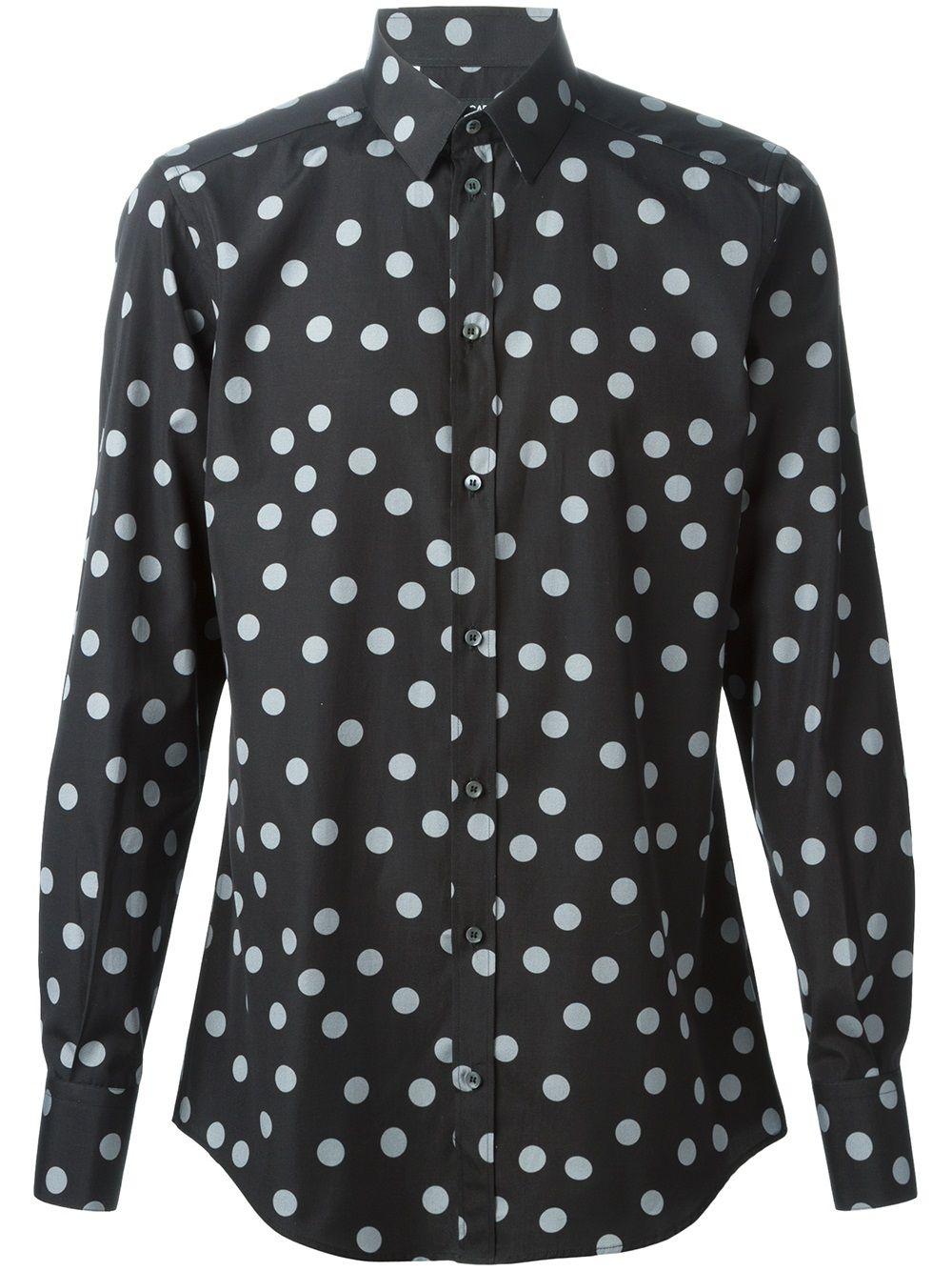 camicia nera con pois grigi in cotone DOLCE & GABBANA | Camicie | G5CP0T-FS5Q8NERO-GRIGIO