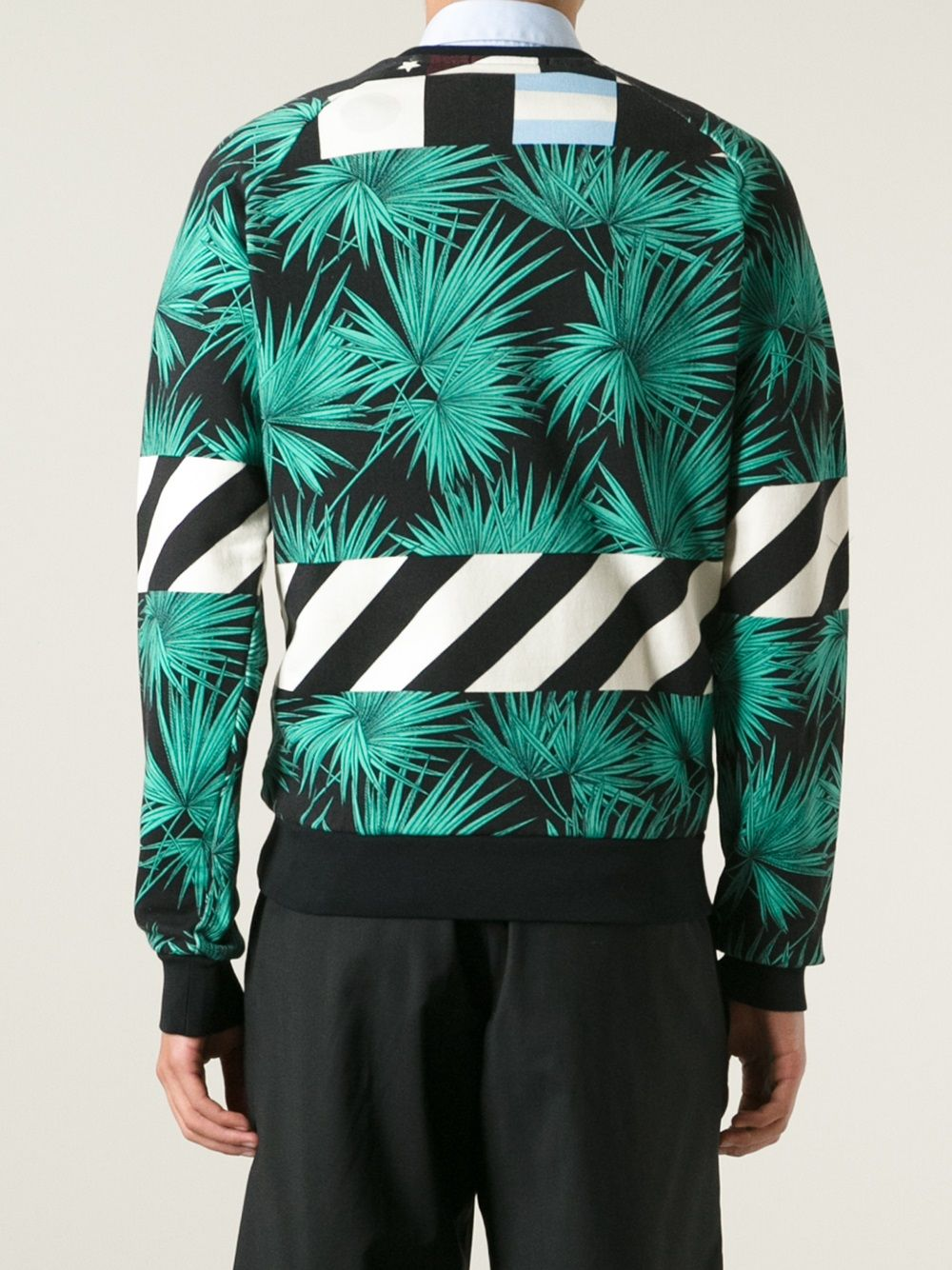 Multicoloured cotton palm tree print sweatshirt from MSGM.  MSGM |  | 1840MM107A-154018VERDE -NERO