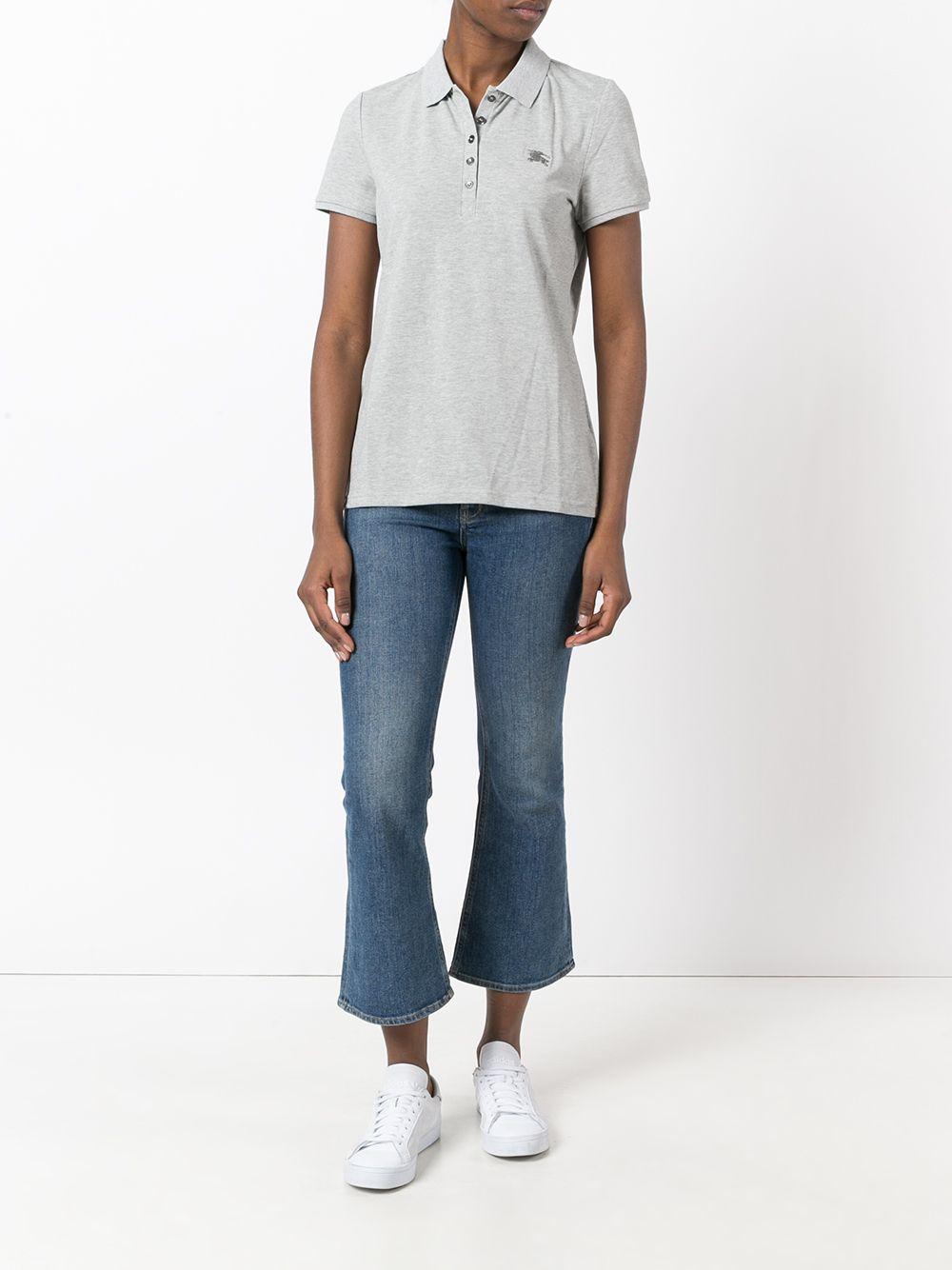 Grey cotton blend embroidered Burberry logo polo shirt BURBERRY |  | 3955949-YNG85118GRIGIO CHIARO