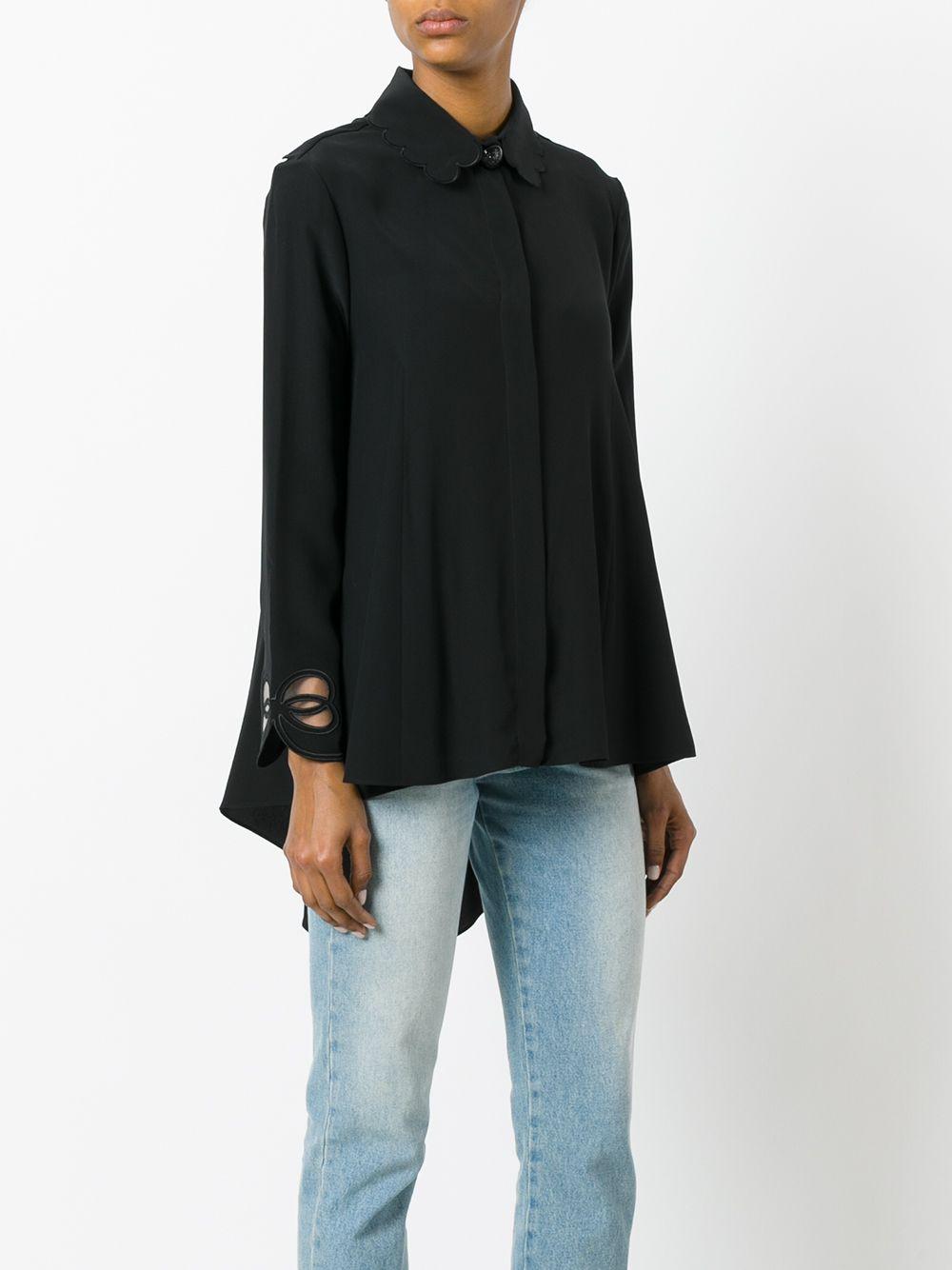 blusa in misto seta con dettagli smerlati lungo il collo FENDI | Camicie | FS6791-O2RF0GME