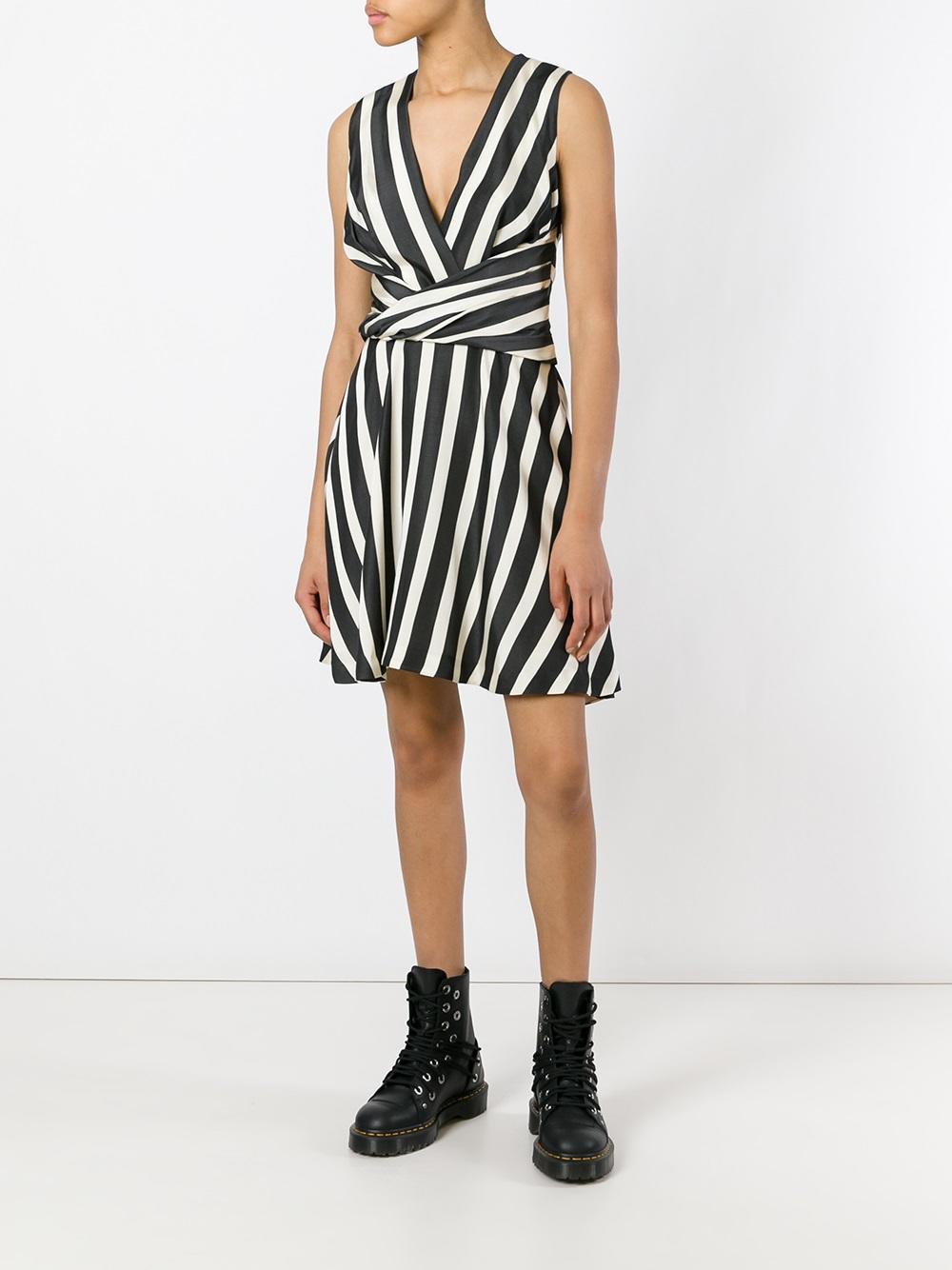 Mini abito svasato senza maniche a righe in cotone bianco e nero MSGM | Abiti | 2241MDA38-17411099