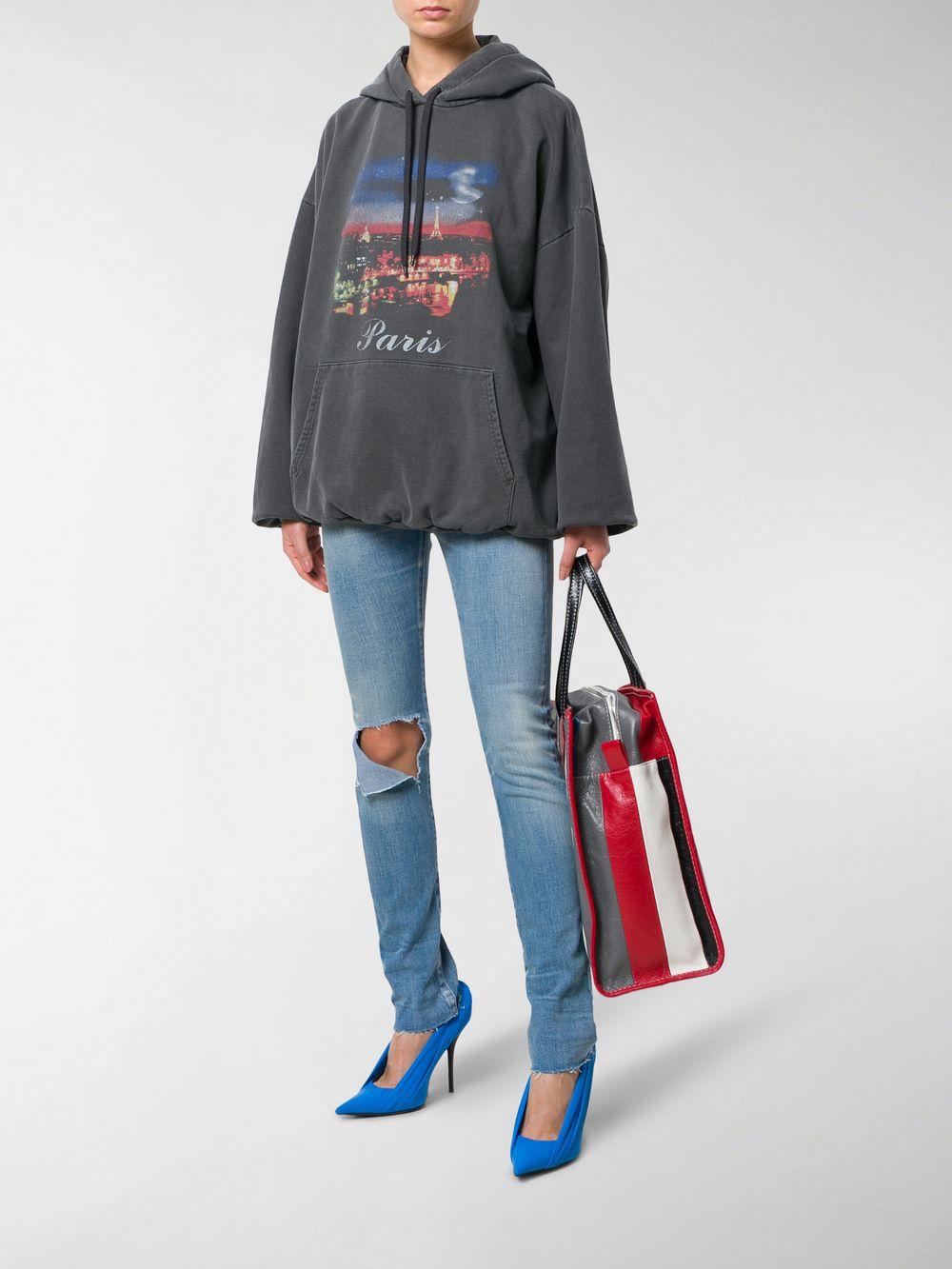 blue cotton blend distressed skinny jeans BALENCIAGA |  | 493467-TXE094065