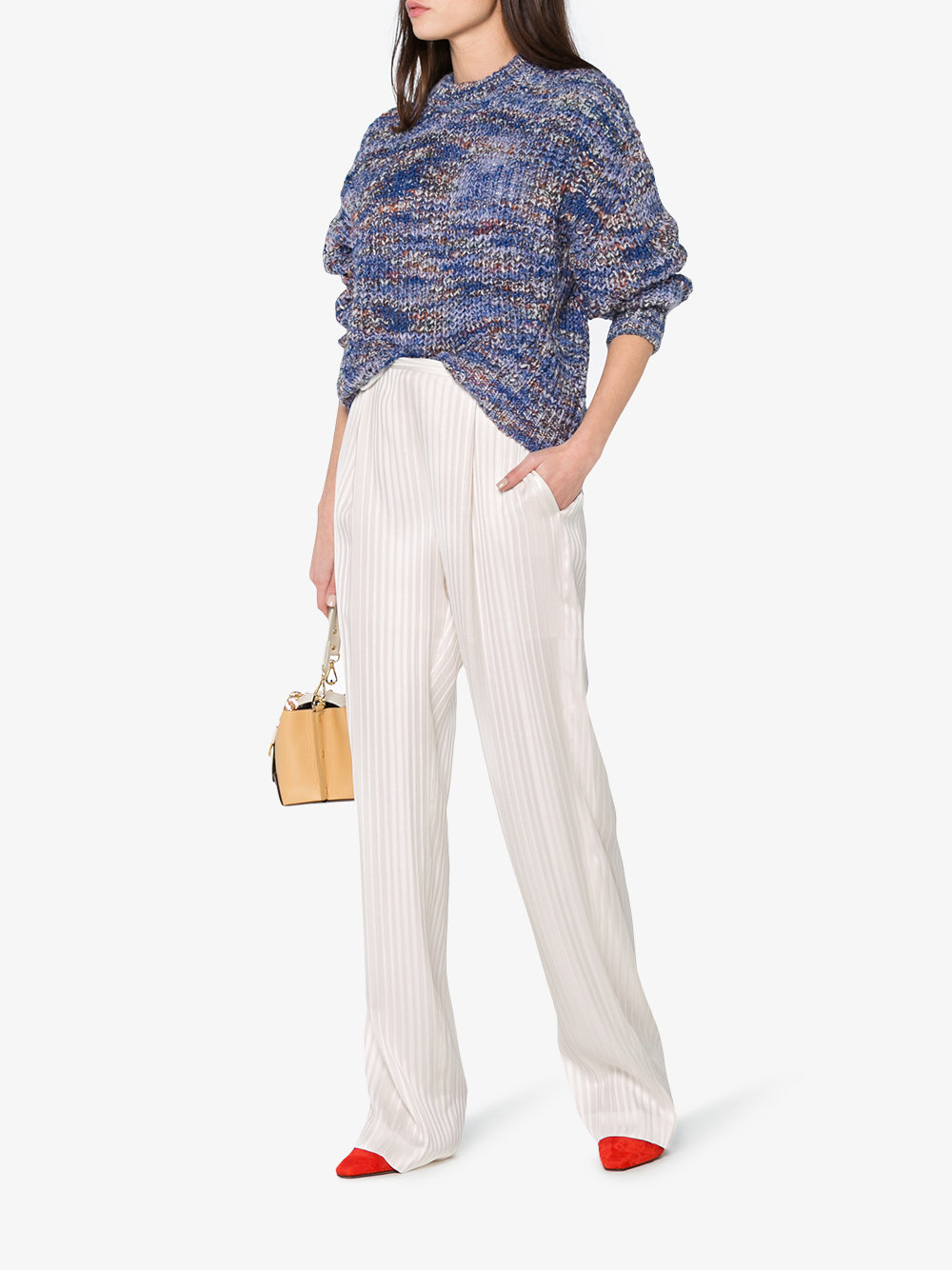 pantalone bianco in seta Jacquard a vita alta con elastico in vita STELLA MC CARTNEY | Pantaloni | 477400-SKA119501