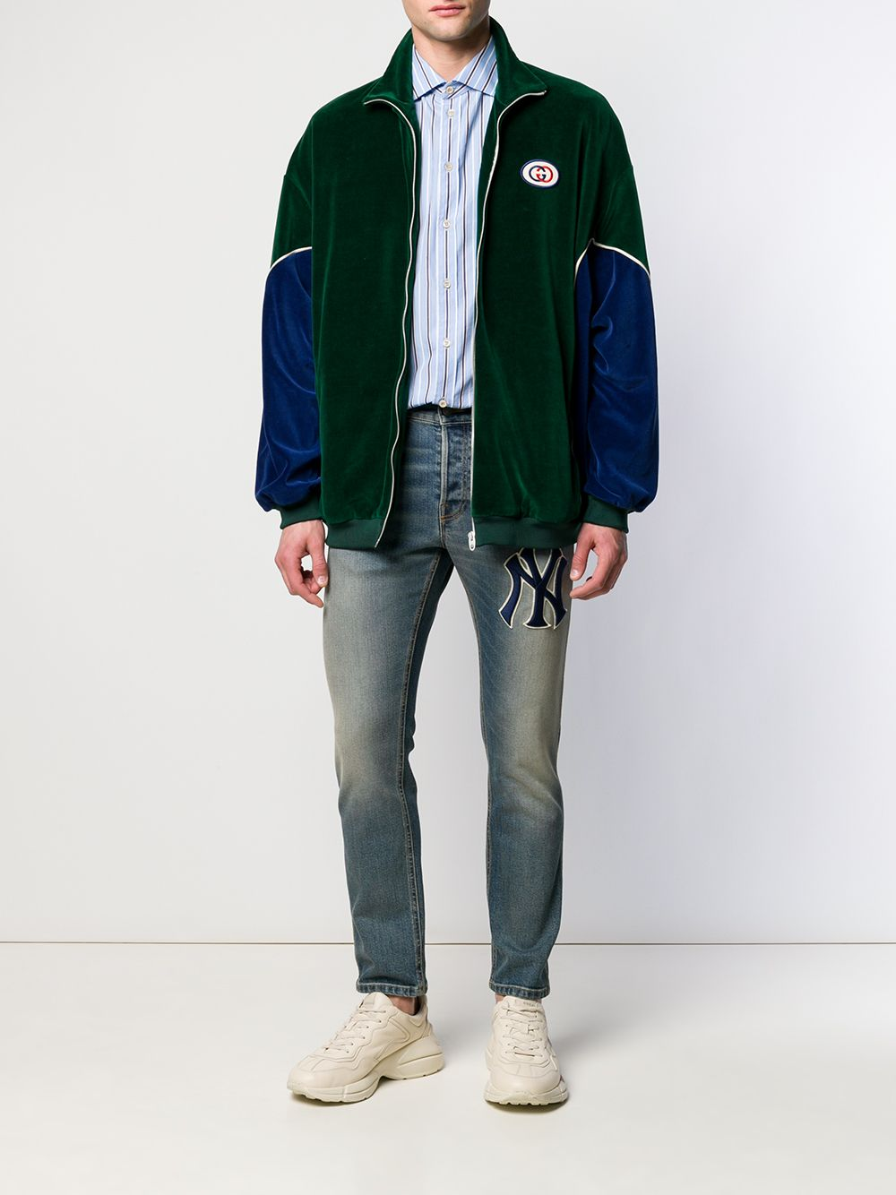 panelled green and blue velvet jacket with front white zip GUCCI      560253-XJA3J3055