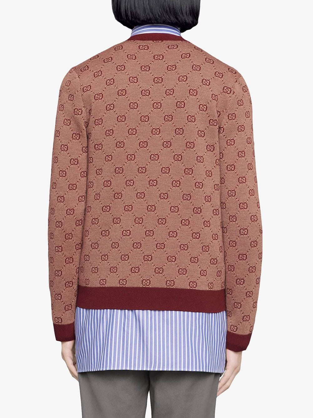 cardigan in lana e cotone con motivo GG jacquard beige e bordeaux GUCCI | Maglieria Moda | 572631-XKAKV9192