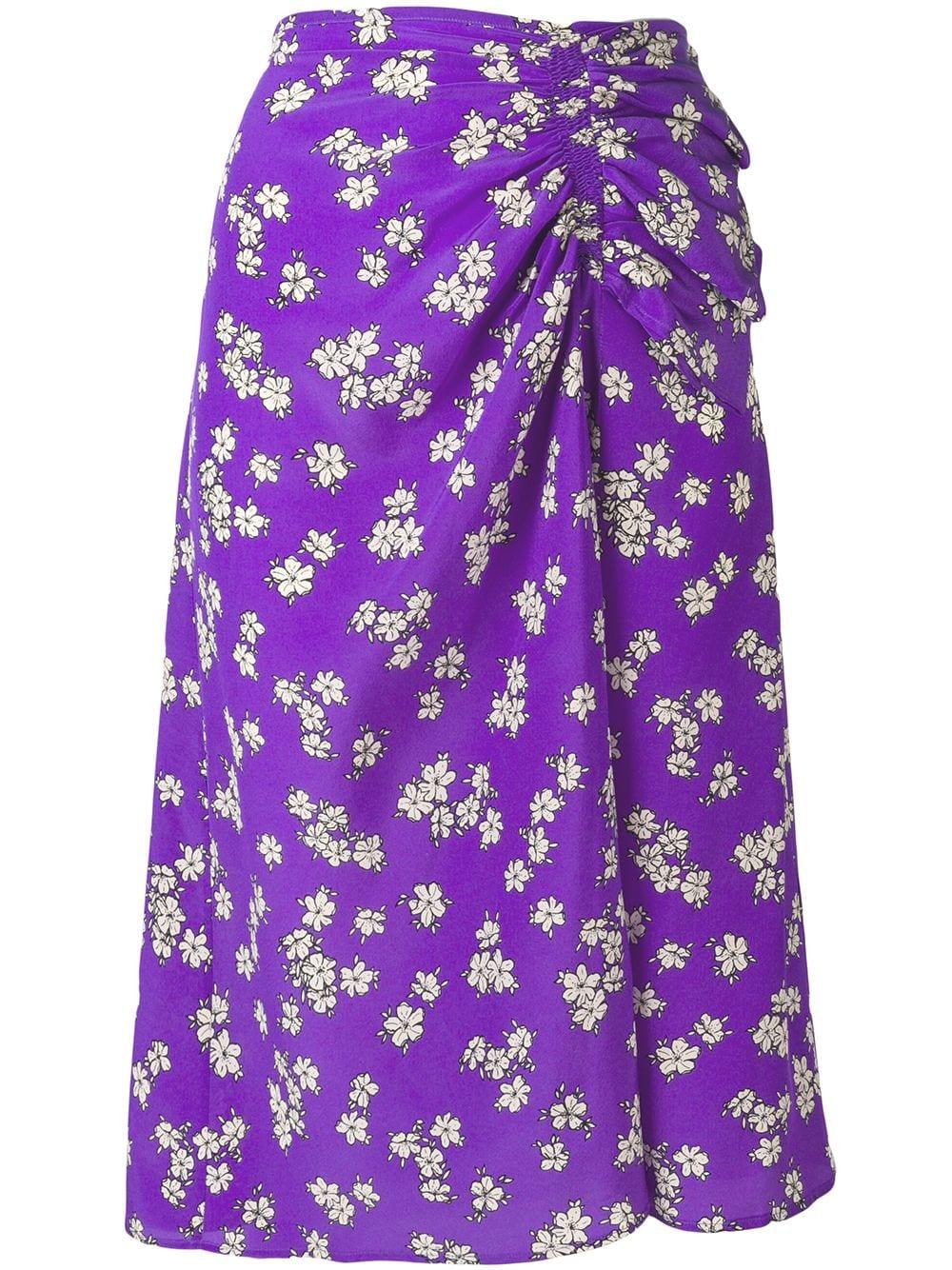 Gonna floreale in seta viola con design arricciato P.A.R.O.S.H. | Gonne | D620313-SAPORE844