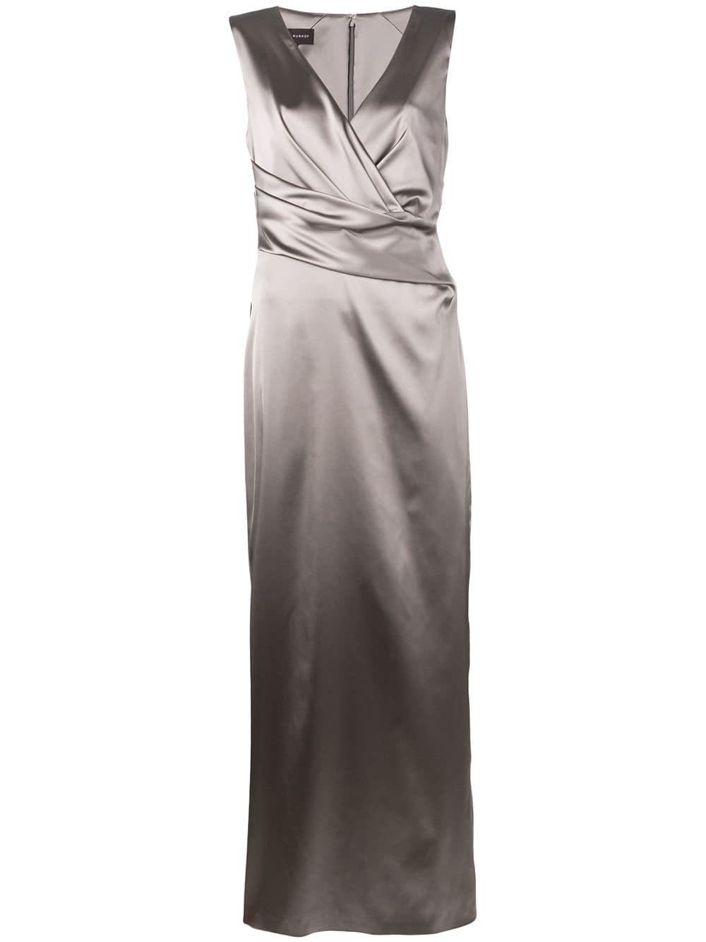 Grey fitted evening gown featuring a deep V neck TALBOT RUNHOF |  | RODIGO1-1200118