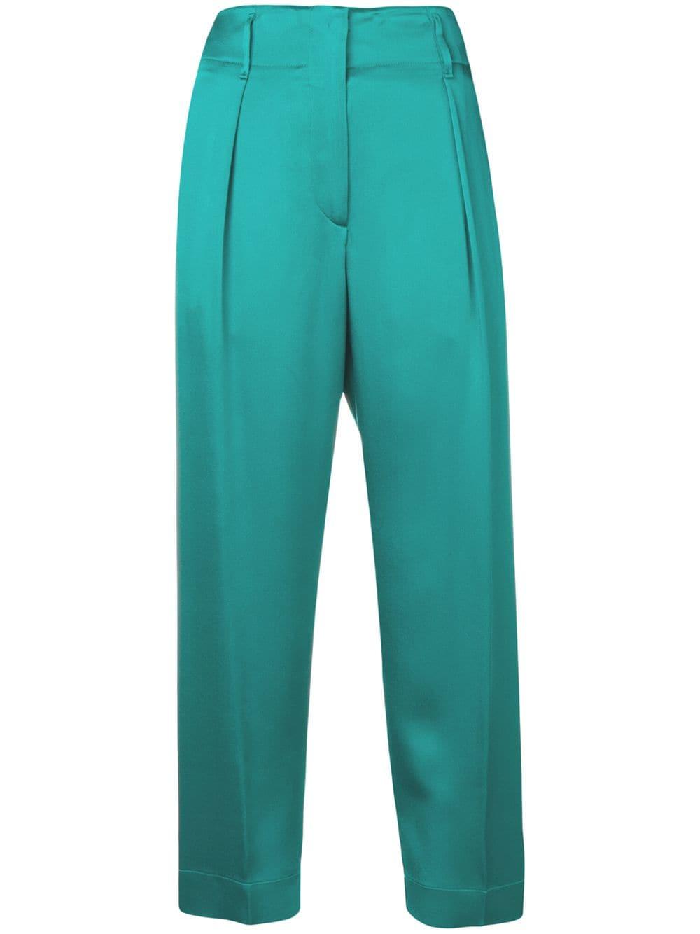 Pantaloni cropped in cotone blu pavone FORTE_FORTE   Pantaloni   6034PEACOCK