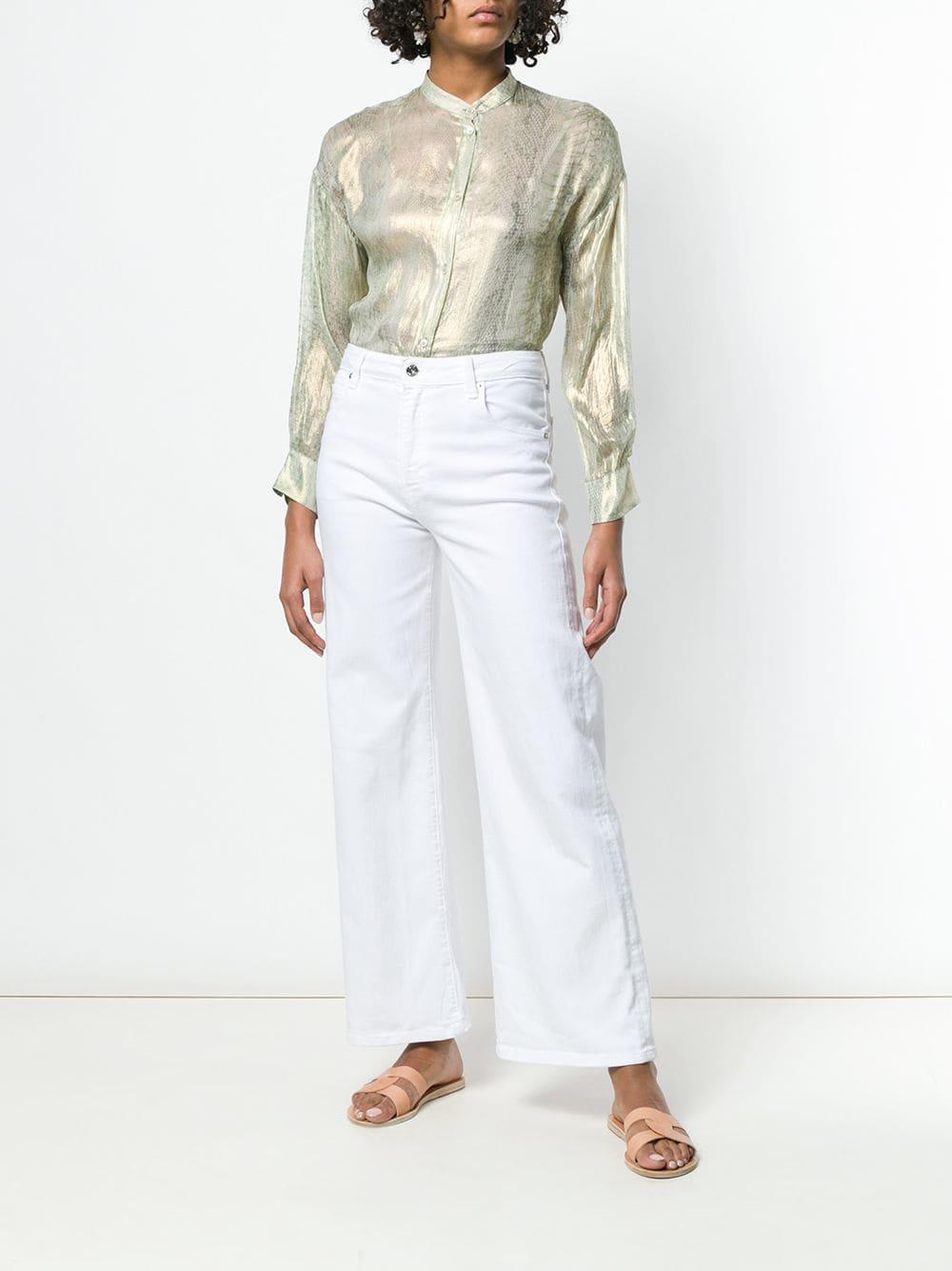 Camicetta a maniche lunghe in seta dorata con collo alla coreana FORTE_FORTE | Camicie | 6064SIRENA