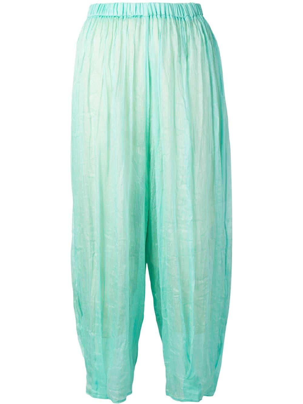 Pantaloni con vita elasticizzata in misto lino e seta blu acqua FORTE_FORTE | Pantaloni | 6286ACQUA