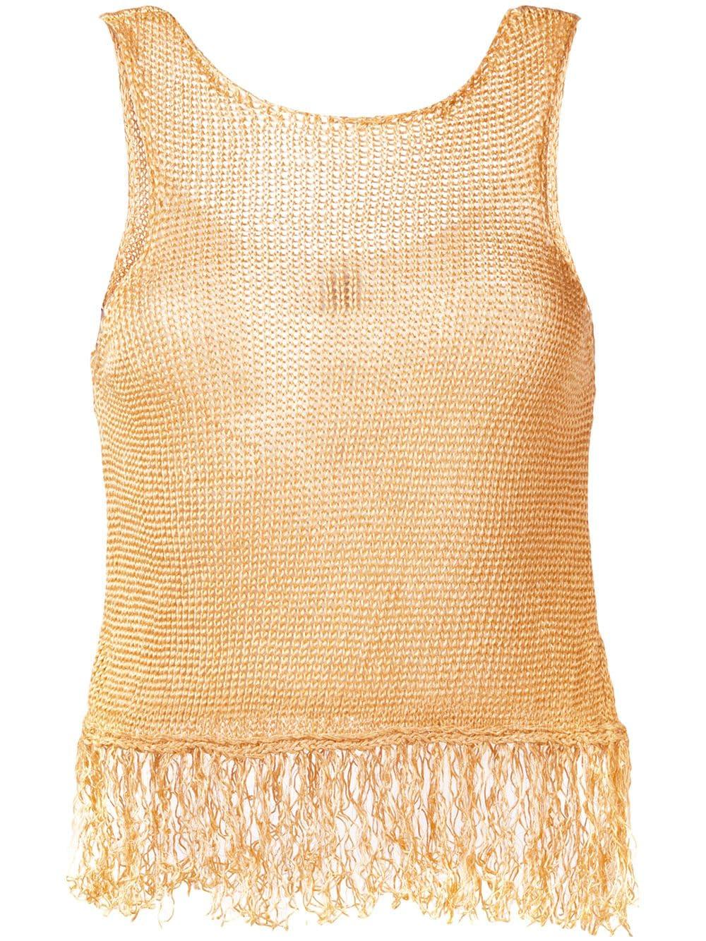 Canotta in lino color oro con frange FORTE_FORTE | Maglieria Moda | 6306ORO