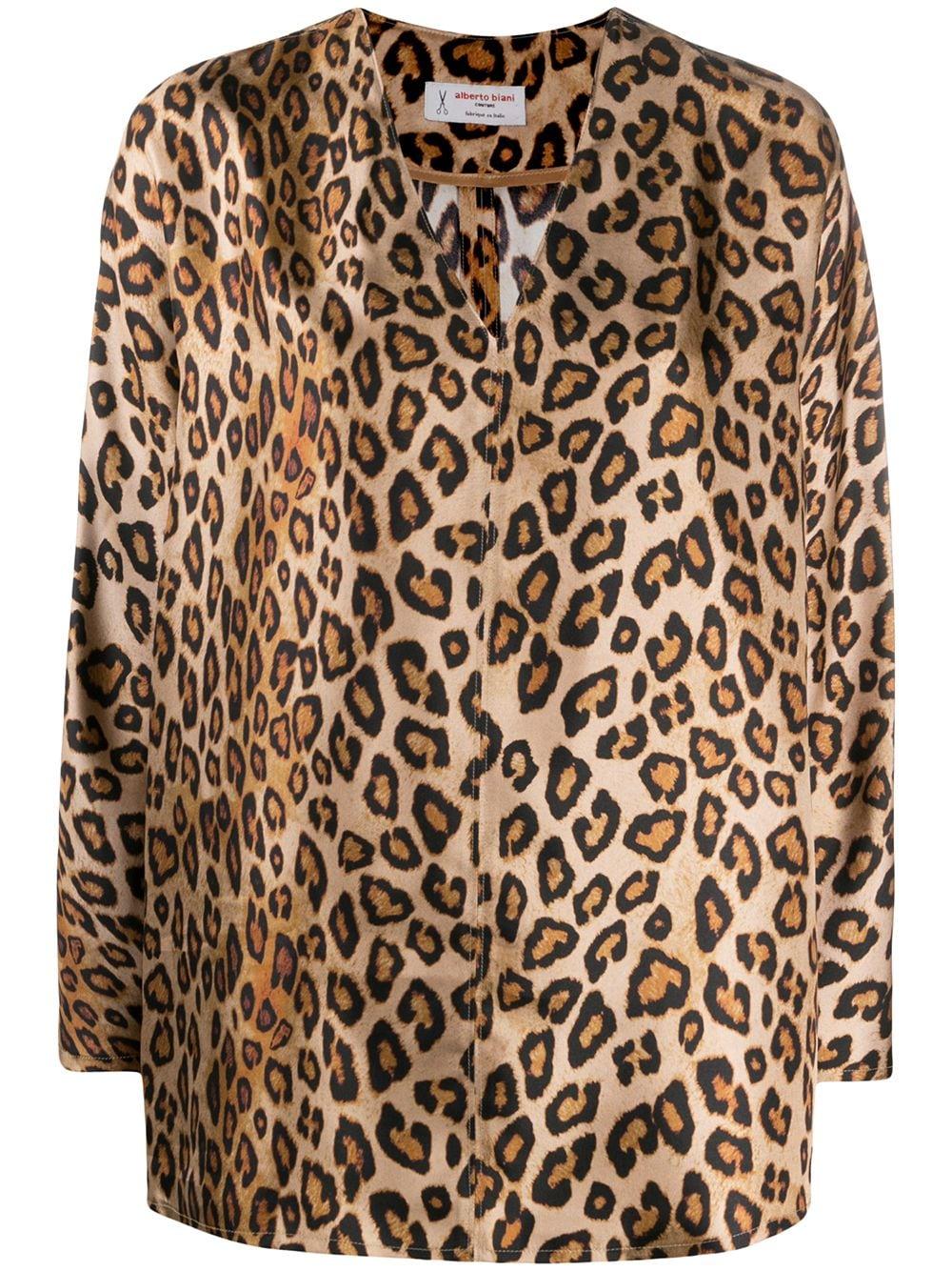 Beige and brown leopard-print silk blouse ALBERTO BIANI |  | MM808-SE310660