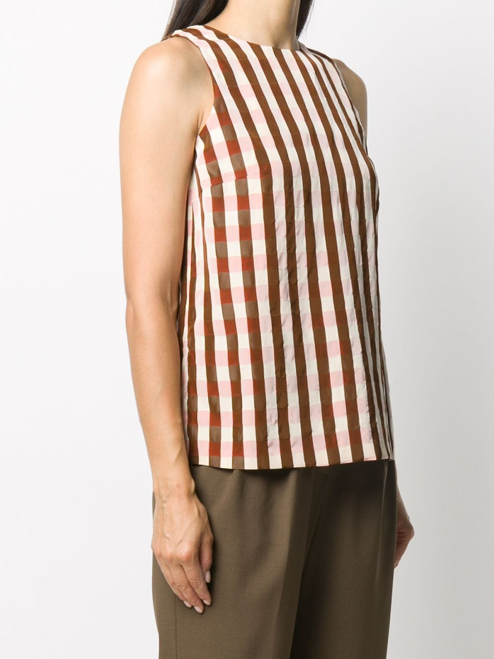 Brown,pink and beige striped sleeveless blouse   ALBERTO BIANI |  | MM826-VI201861