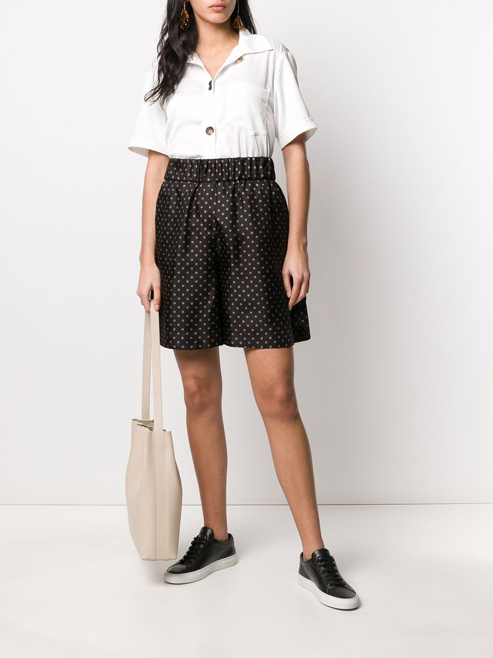 Brown silk blend polka dot shorts  ALBERTO BIANI      CC846-SE310390