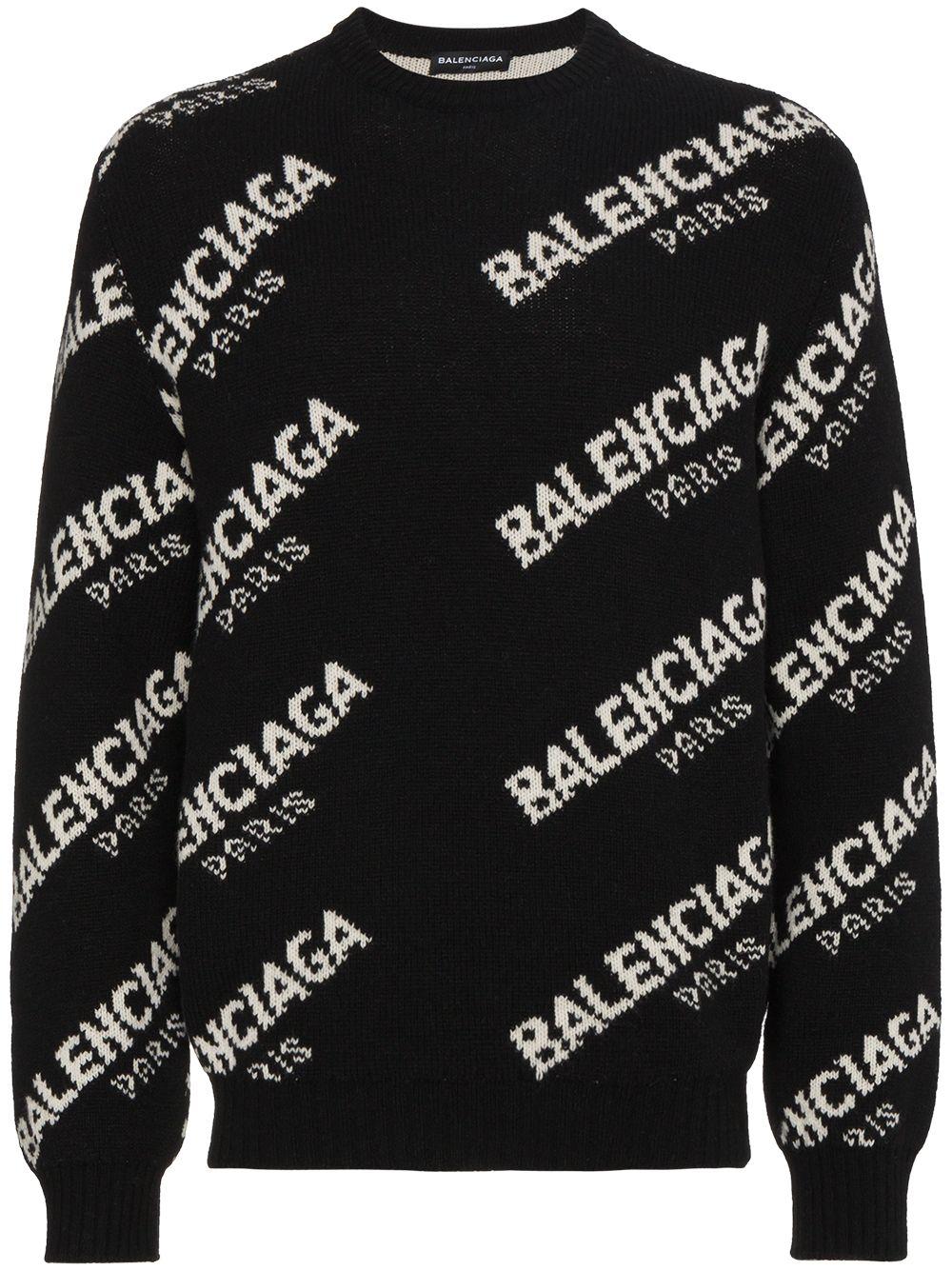 crewneck sweater in black wool and Balenciaga white logo BALENCIAGA |  | 507287-T14421070