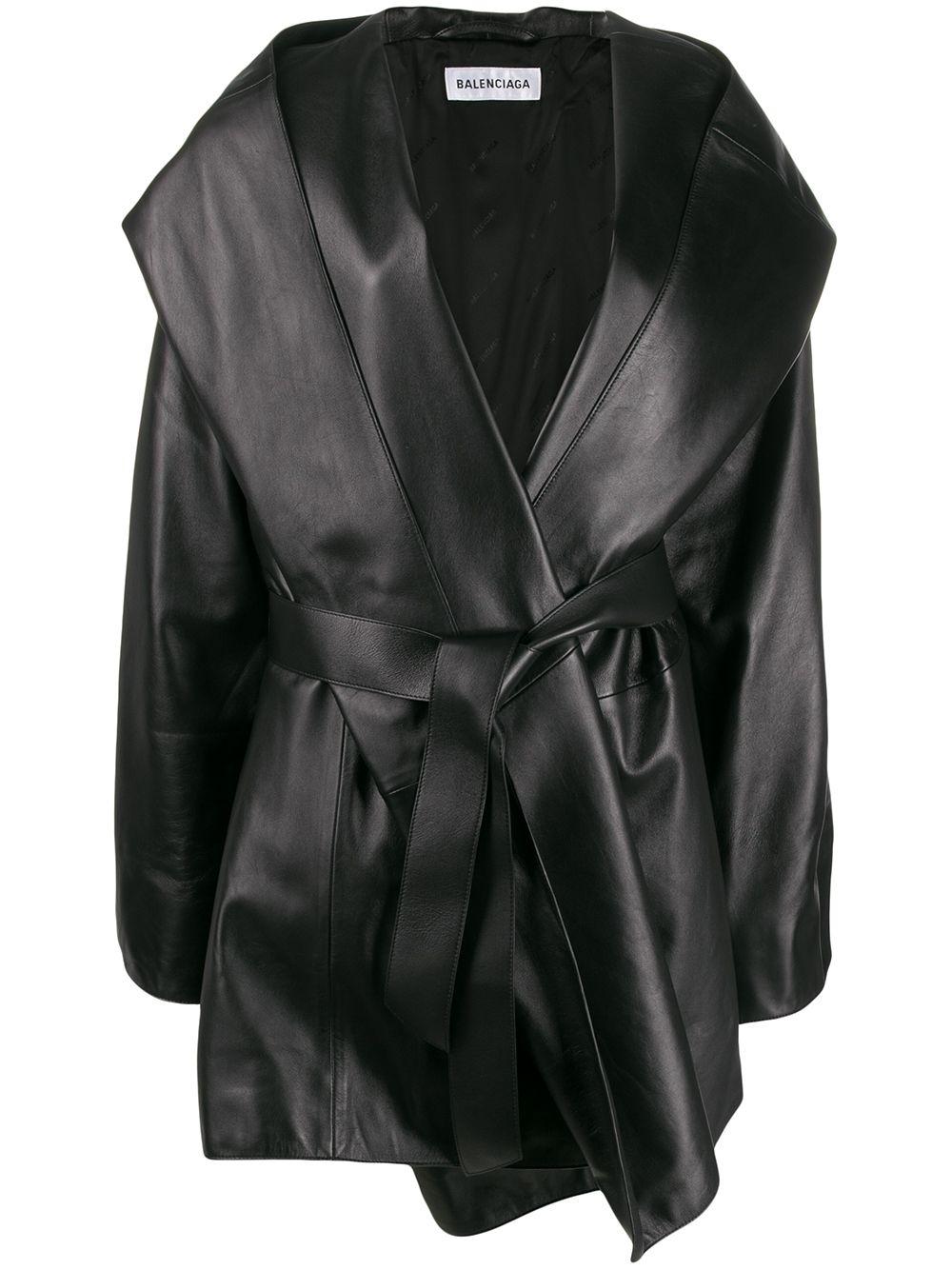 cappotto corto in pelle d'agnello e nappa nero con cappuccio e fibbia Balenciaga dorata BALENCIAGA   Cappotti   594481-TGS071000