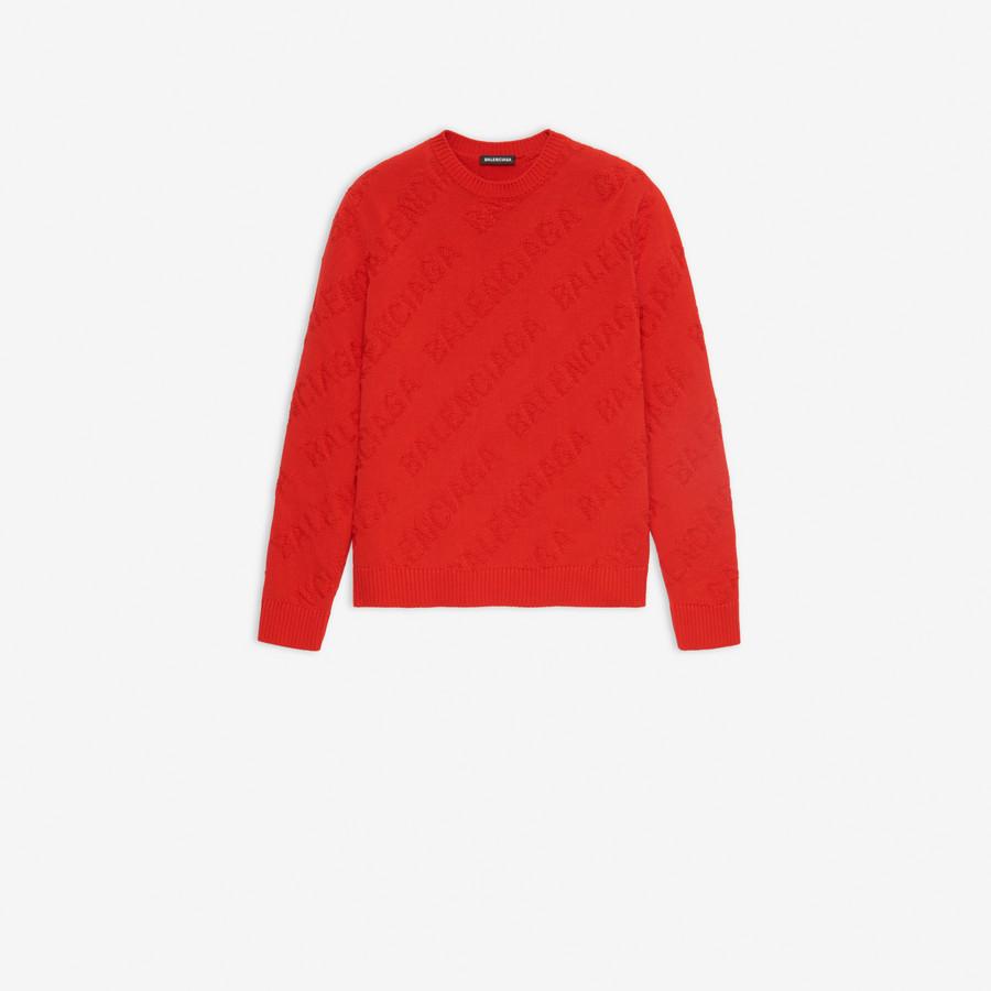 pullover rosso con logo Balenciaga ricamato BALENCIAGA   Maglieria Moda   599870-T31666400