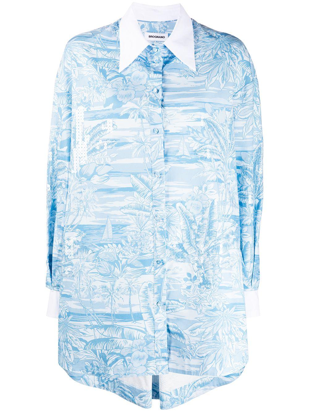 Camicia oversize con stampa tropicale in cotone azzurro e bianco BROGNANO | Camicie | 28BR2E04R-20429380